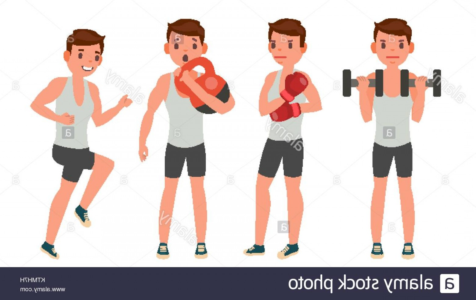 Man Vector Exercise: Stock Photo Fitness Man Vector Different Poses Work Out Active Fitness Flat Cartoon