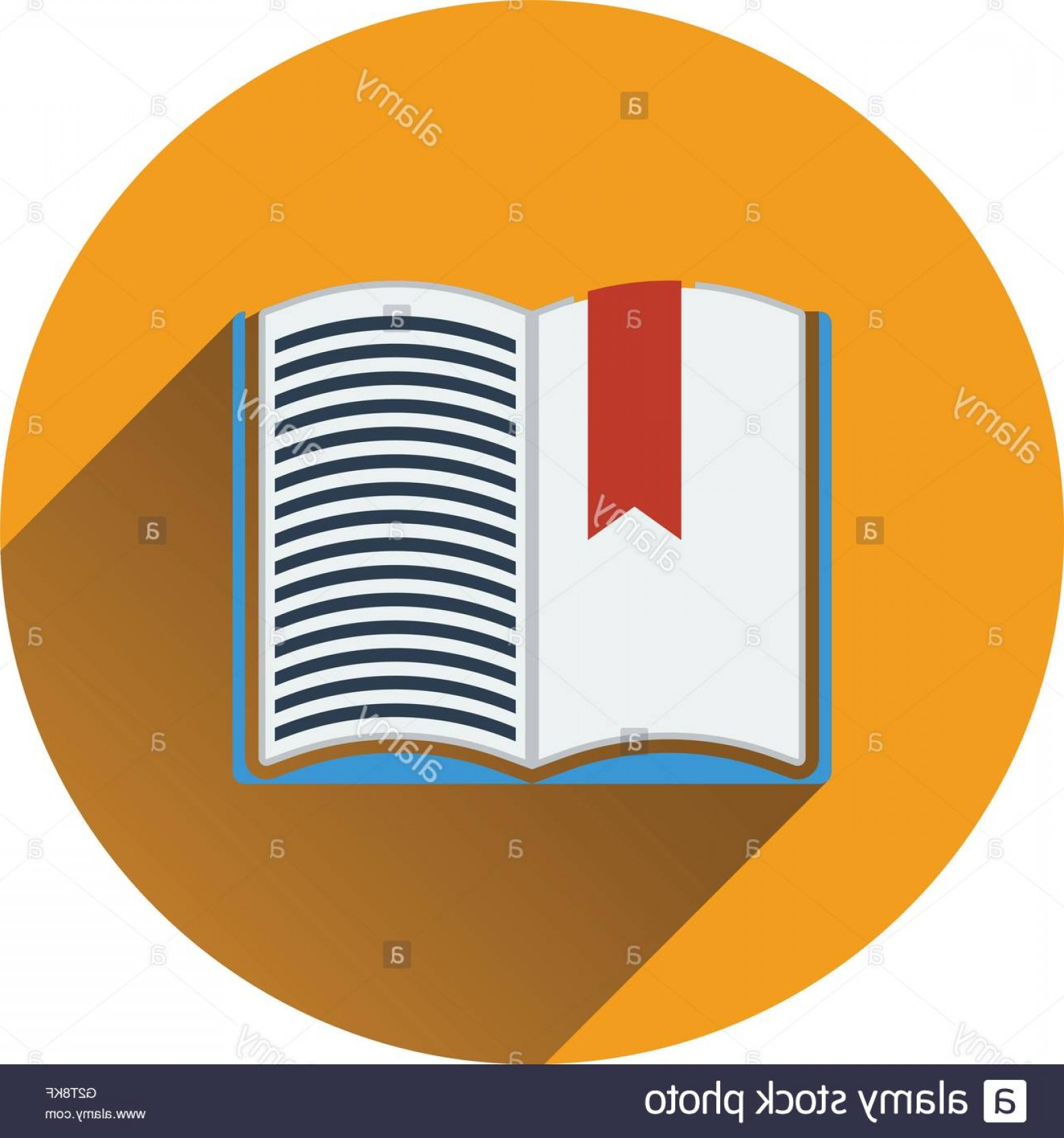 Open Book Vector Flat: Stock Photo Flat Design Icon Of Open Book With Bookmark In Ui Colors Flat Design