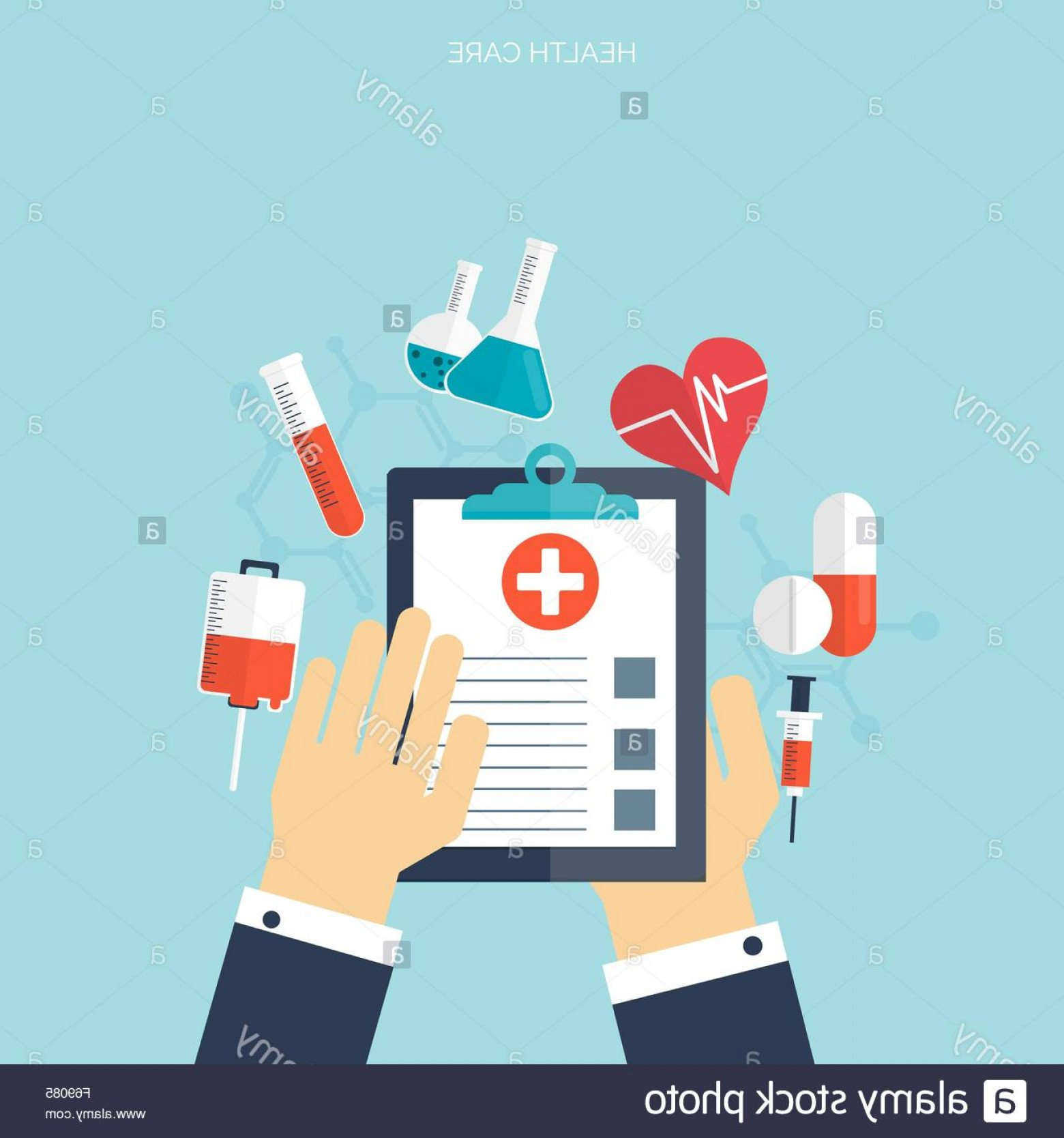 Vector Health Insurance: Stock Photo Flat Health Care And Medical Research Background Healthcare System