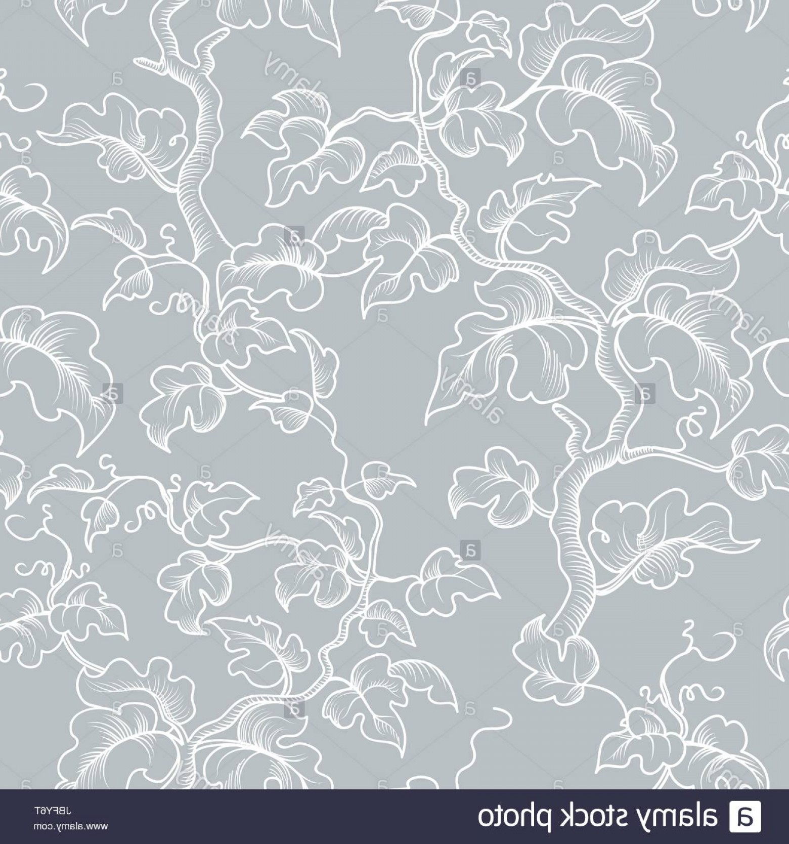 Vector Flourish Backgrounds: Stock Photo Floral Seamless Pattern Decorative Plant Branch Leaves Flourish Engraving