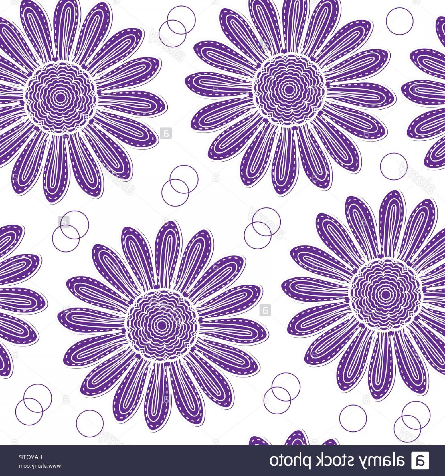 Lilac Vector Drawing: Stock Photo Floral Seamless Pattern Of Purple Chrysanthemum Hand Drawing Style