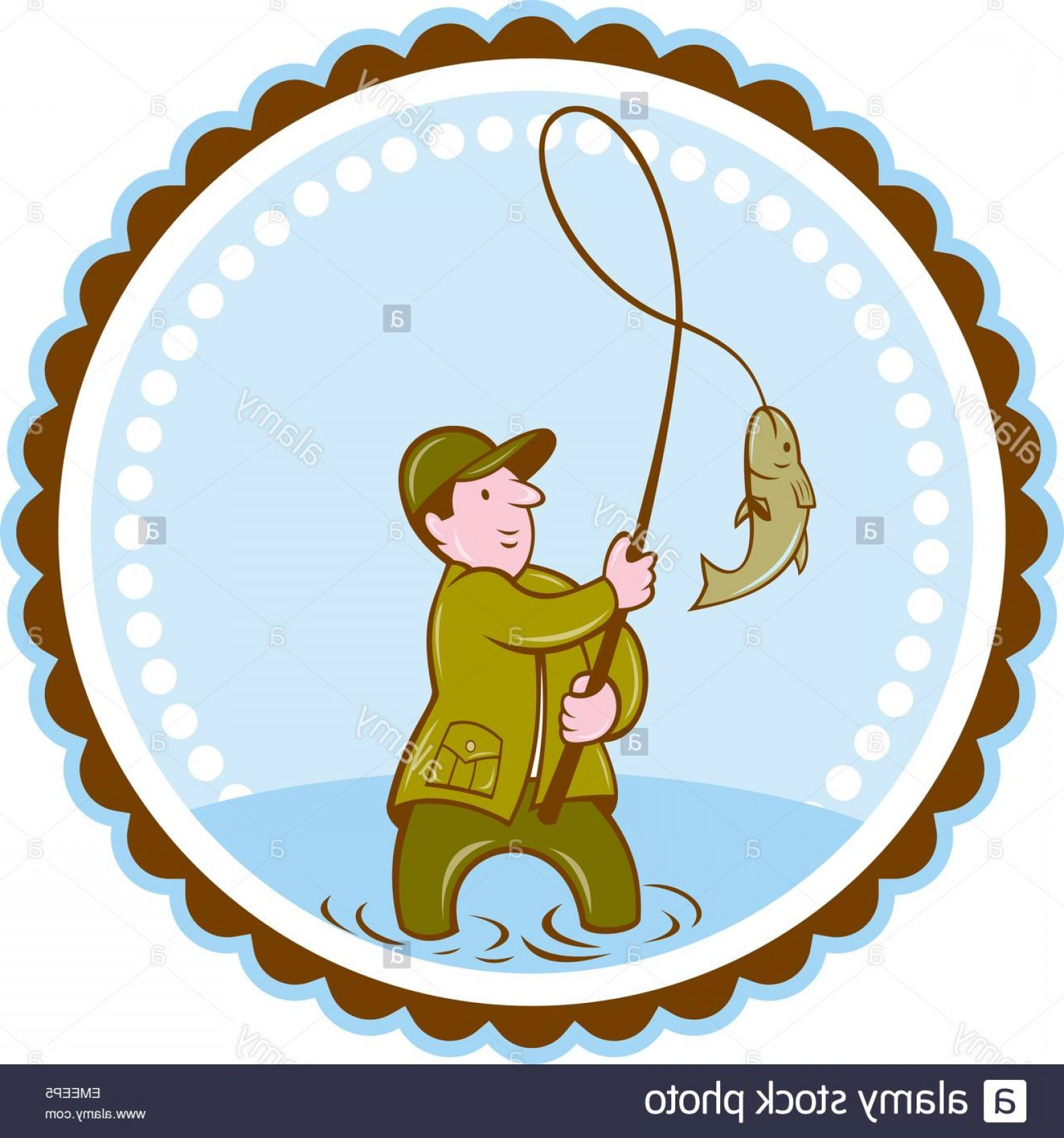 Detailed Vector Art Fly Fisherman: Stock Photo Fly Fisherman Fish On Reel Rosette Cartoon