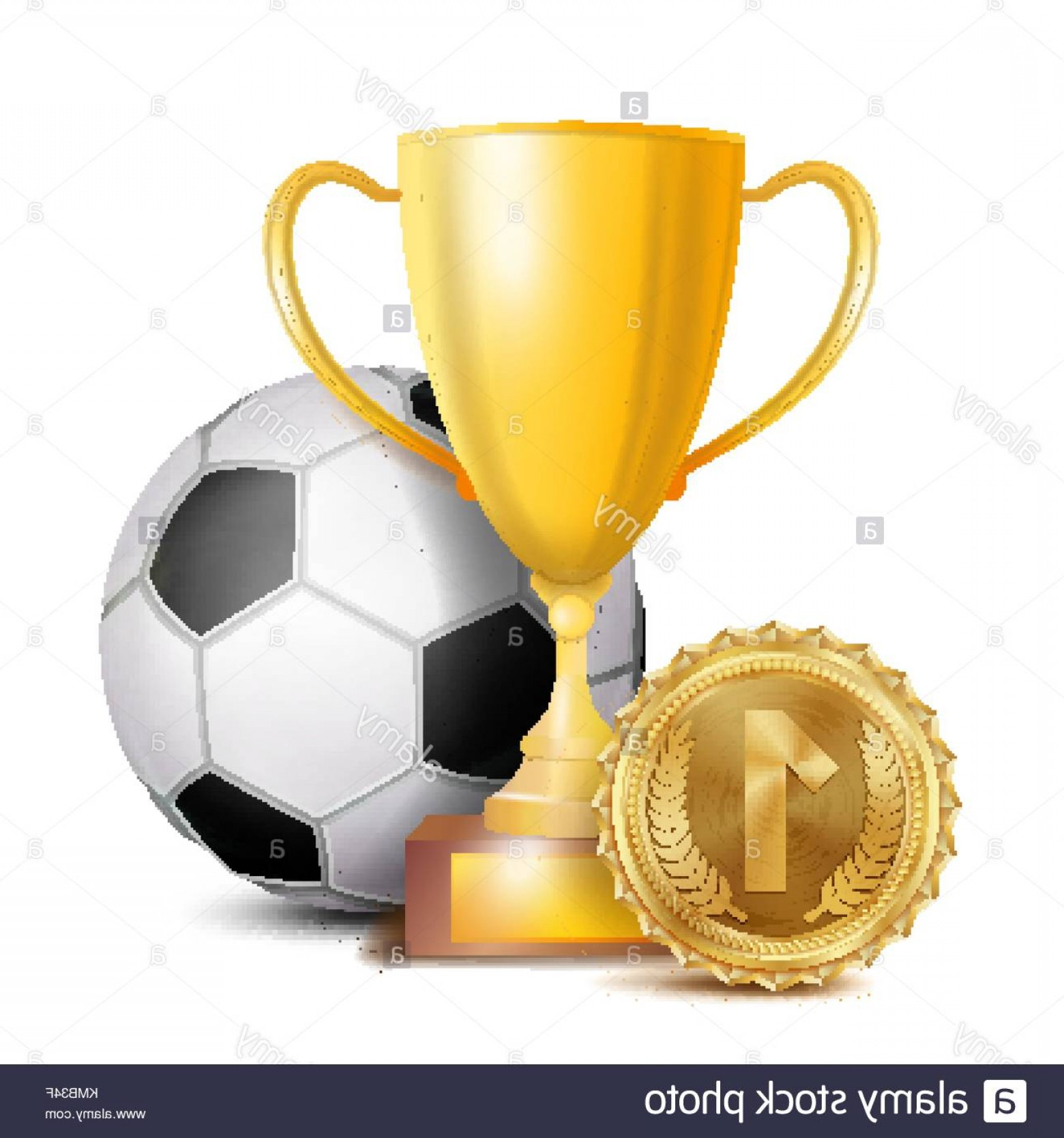 Gold Trophy Vector: Stock Photo Football Award Vector Sport Banner Background Ball Gold Winner Trophy