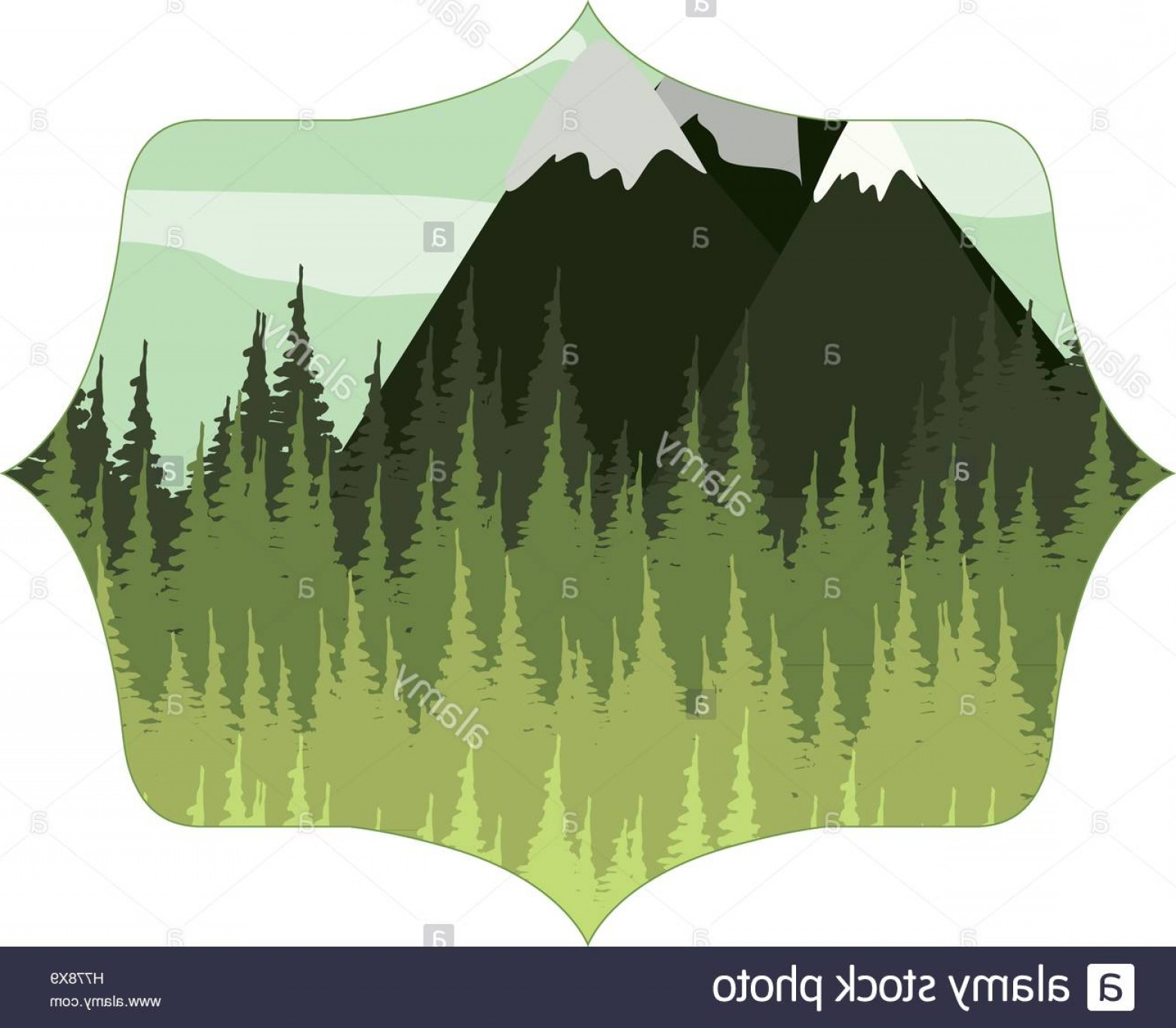 Snowy Mountain Vector Graphics: Stock Photo Frame With Forest And Snowy Mountains Vector Illustration