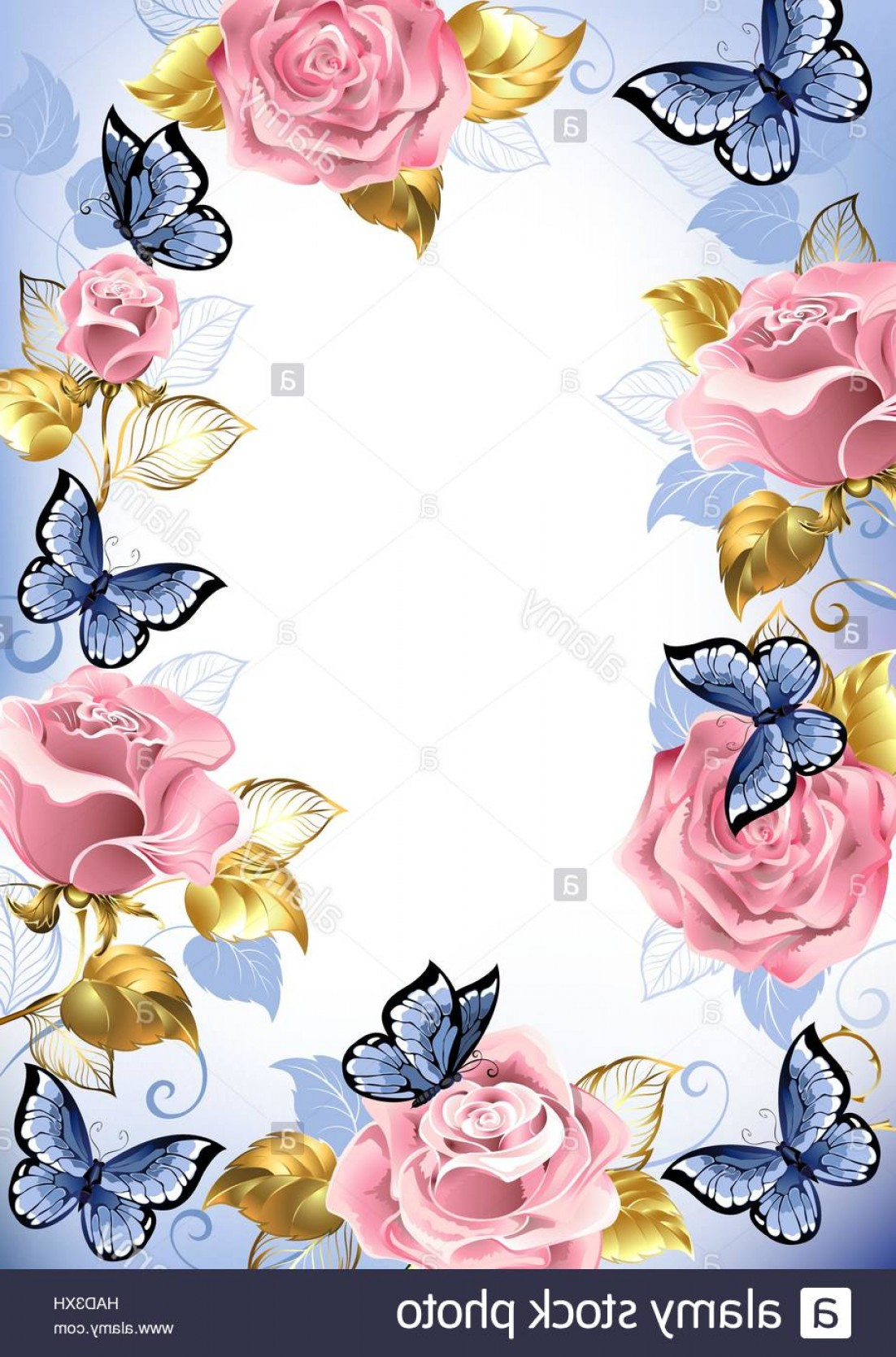 Gold And Blue Flower Vector: Stock Photo Frame With Pink Roses Blue Butterflies Gold And Blue Leaves On A Light