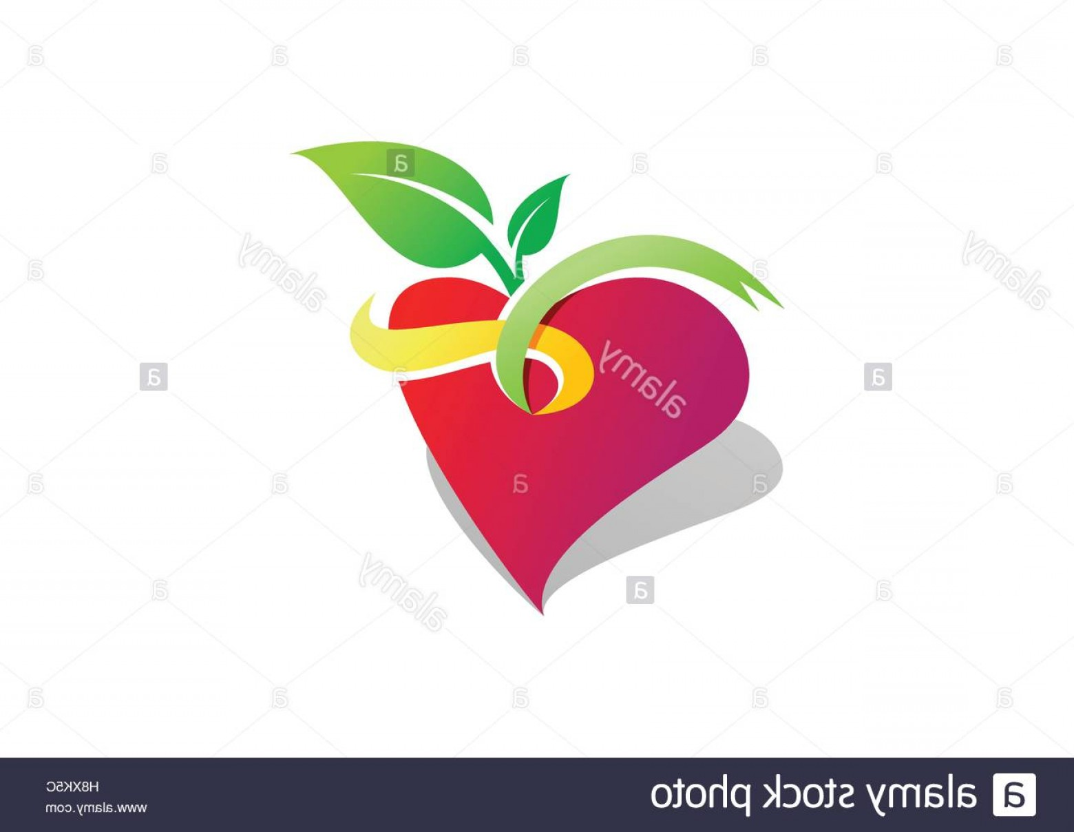 Red Apple Vector Logo: Stock Photo Fruit Heart Wellness Logo Health Red Apple Heart Logotype Symbol Icon