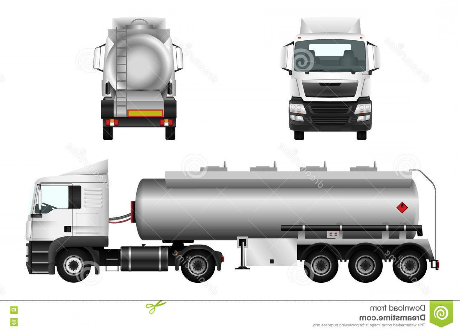 Vector Semi Tanker: Stock Photo Fuel Gas Tanker Truck Template Vector Isolated Car Trailer White Background Image