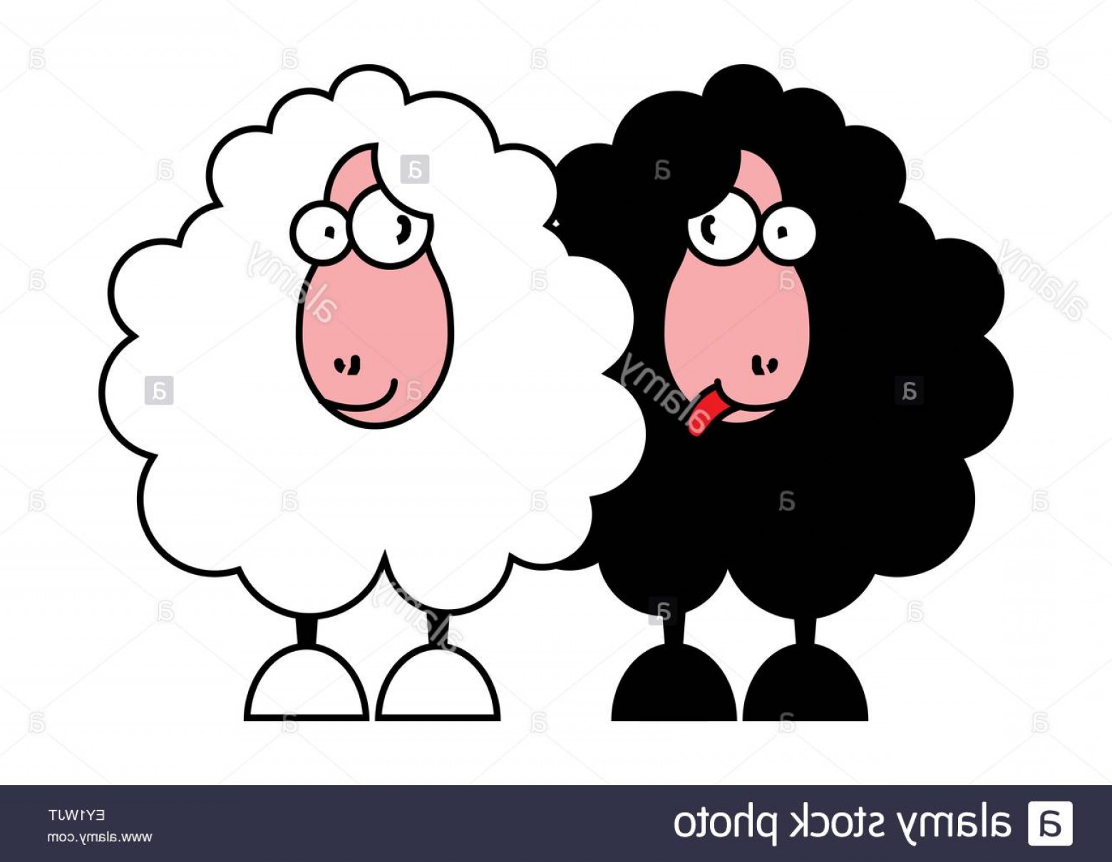 Funny Black And White Vector: Stock Photo Funny Black And White Sheeps Vector Illustration
