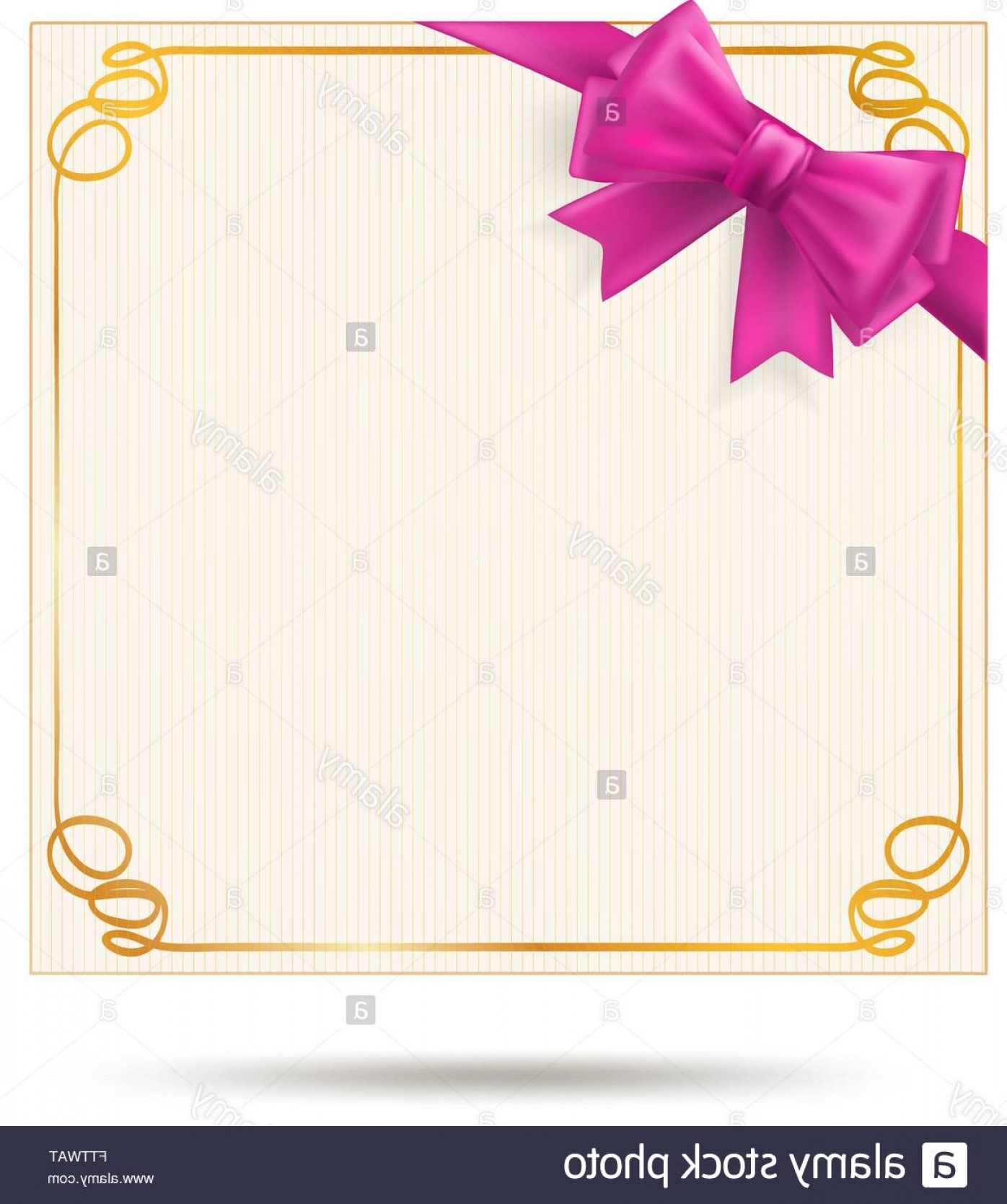 Vector Frame Gift: Stock Photo Gift Card With Golden Swirl Frame And Pink Ribbon Pink Bow Decoration