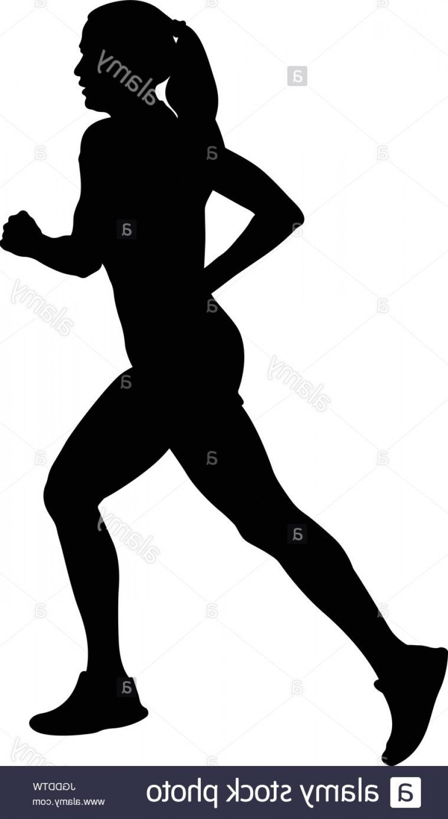 Vector Silhouette Of Girl Running Track: Stock Photo Girl Athlete Runner Running Side View Black Silhouette