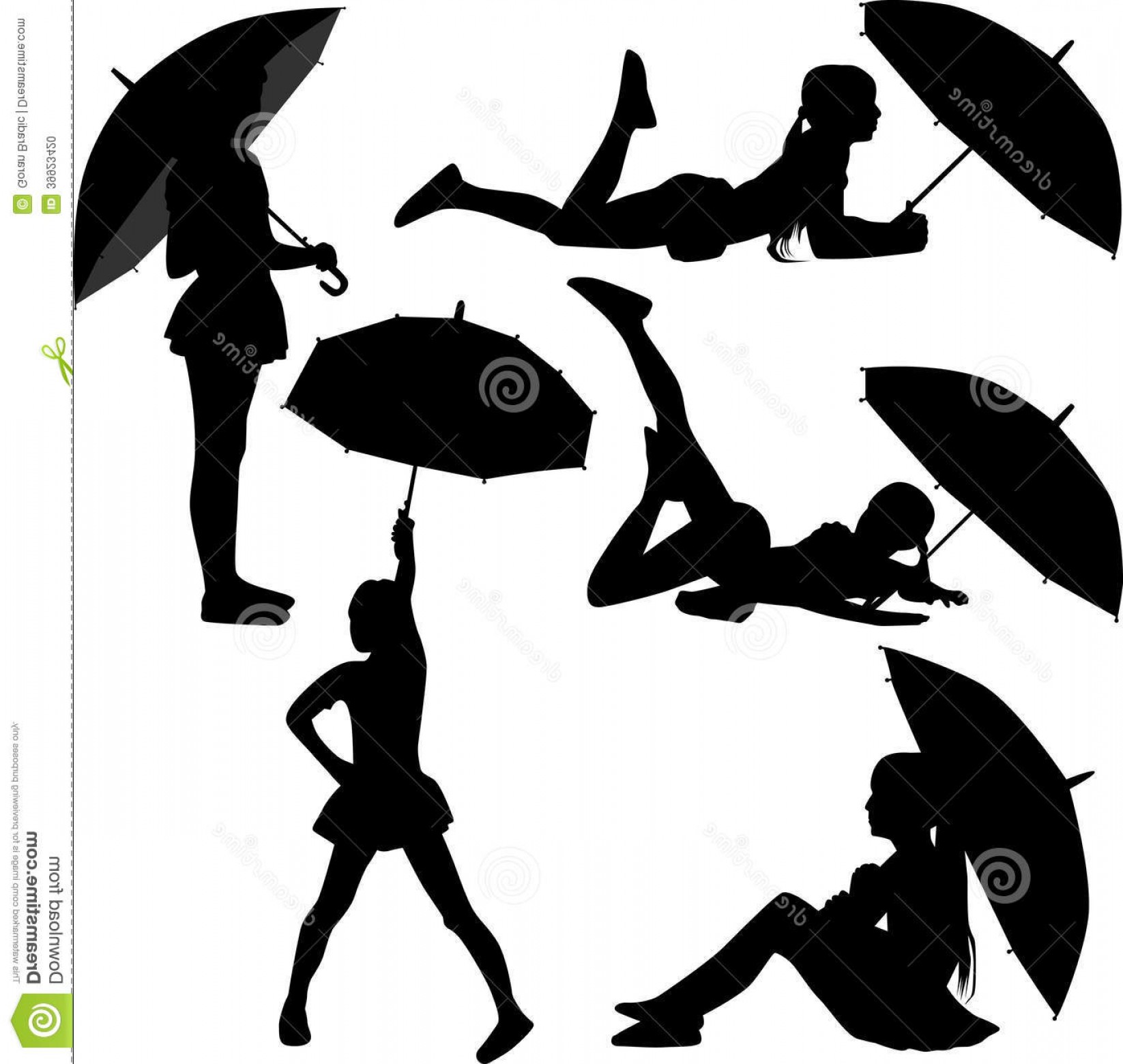 Umbrella Vector Black: Stock Photo Girl Dance Umbrella Silhouette Vector Image