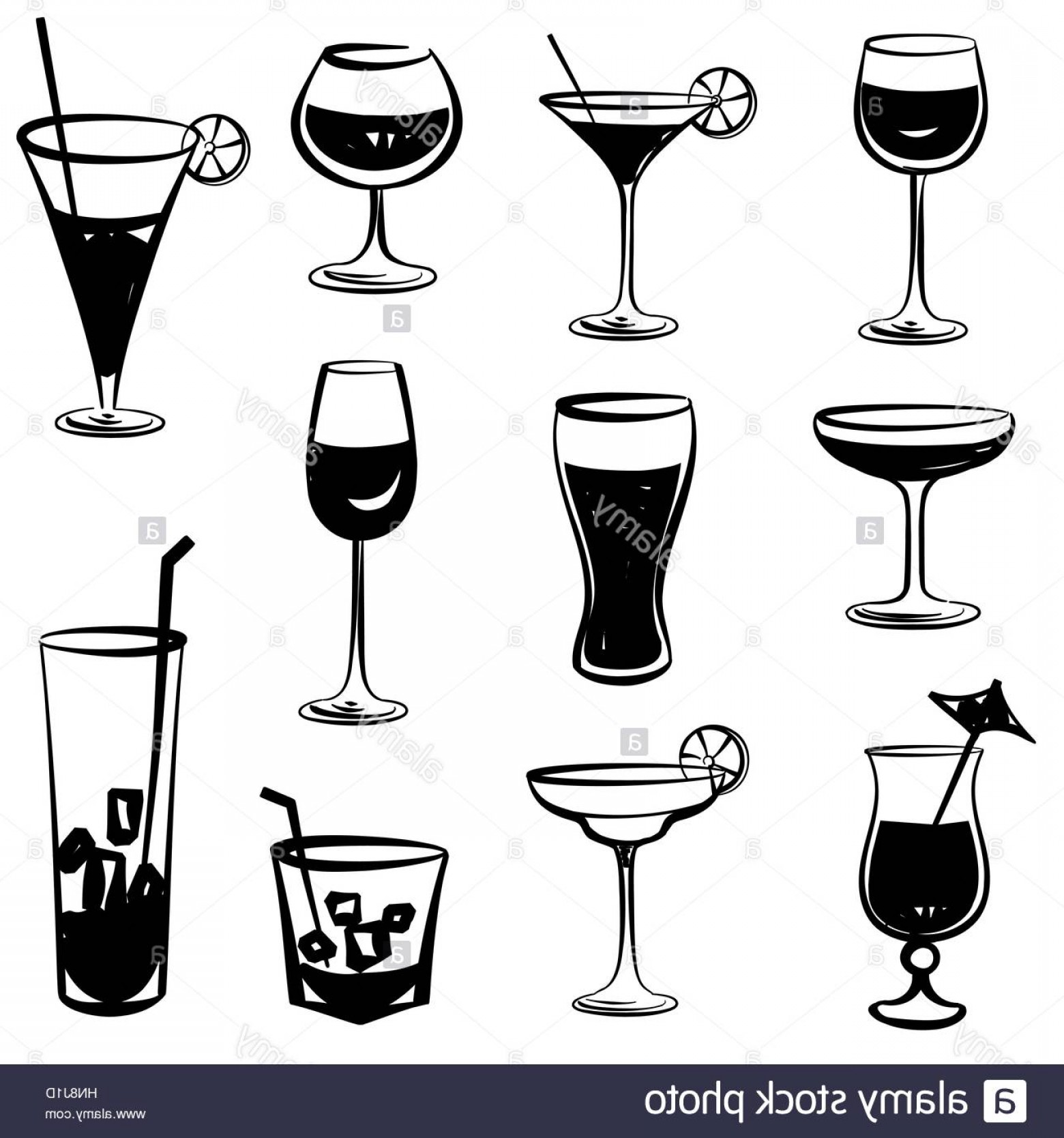 Cocktail Glasses Vector Art Decor: Stock Photo Glass Vector Silhouette Collection Set Of Different Cocktail Drinks