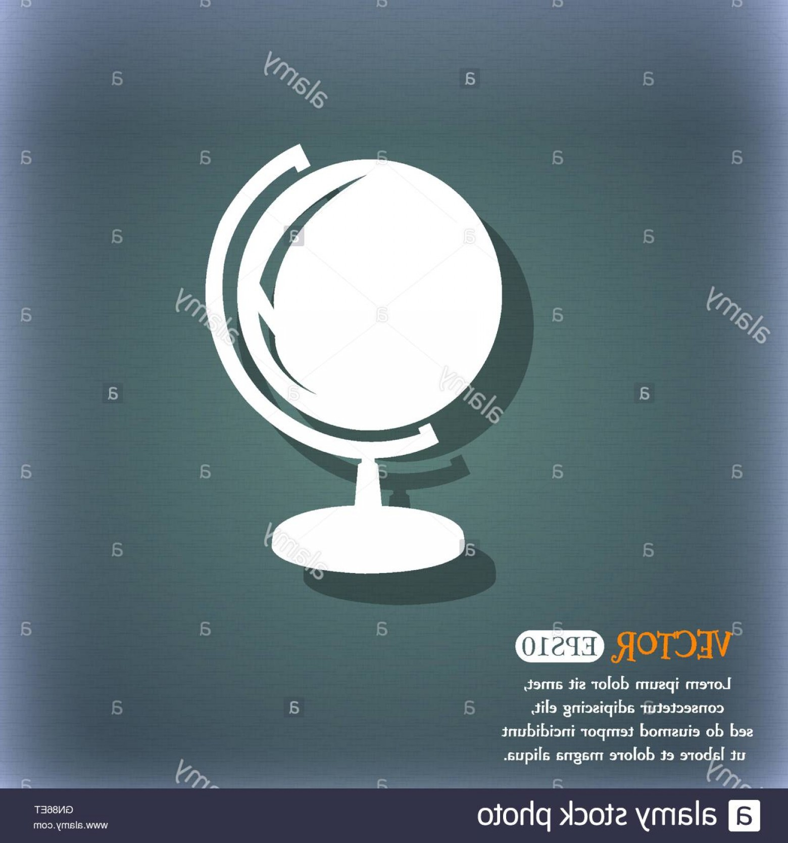 Abstract Vector Art Globe TV: Stock Photo Globe Icon On The Blue Green Abstract Background With Shadow And Space