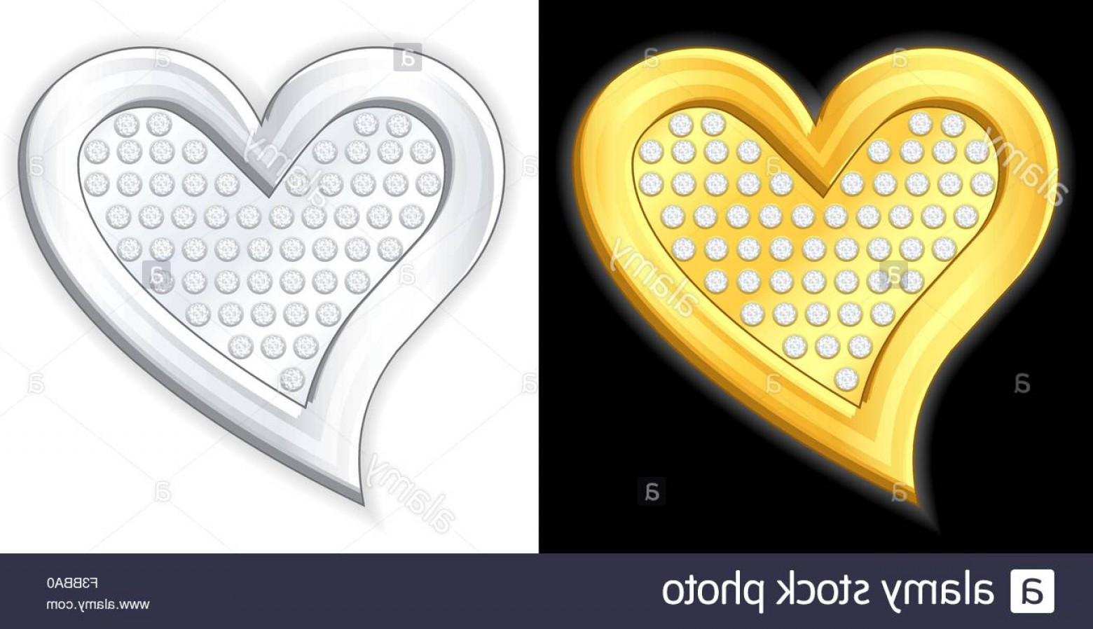 Silver Heart Vector: Stock Photo Gold And Silver Jewelry Heart Vector Illustration