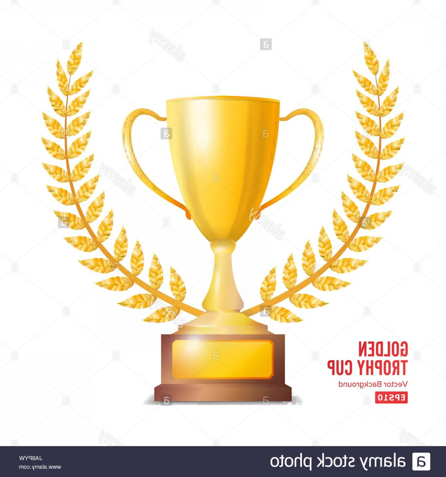 Gold Trophy Vector: Stock Photo Golden Trophy Cup With Laurel Wreath Award Design Winner Concept Isolated