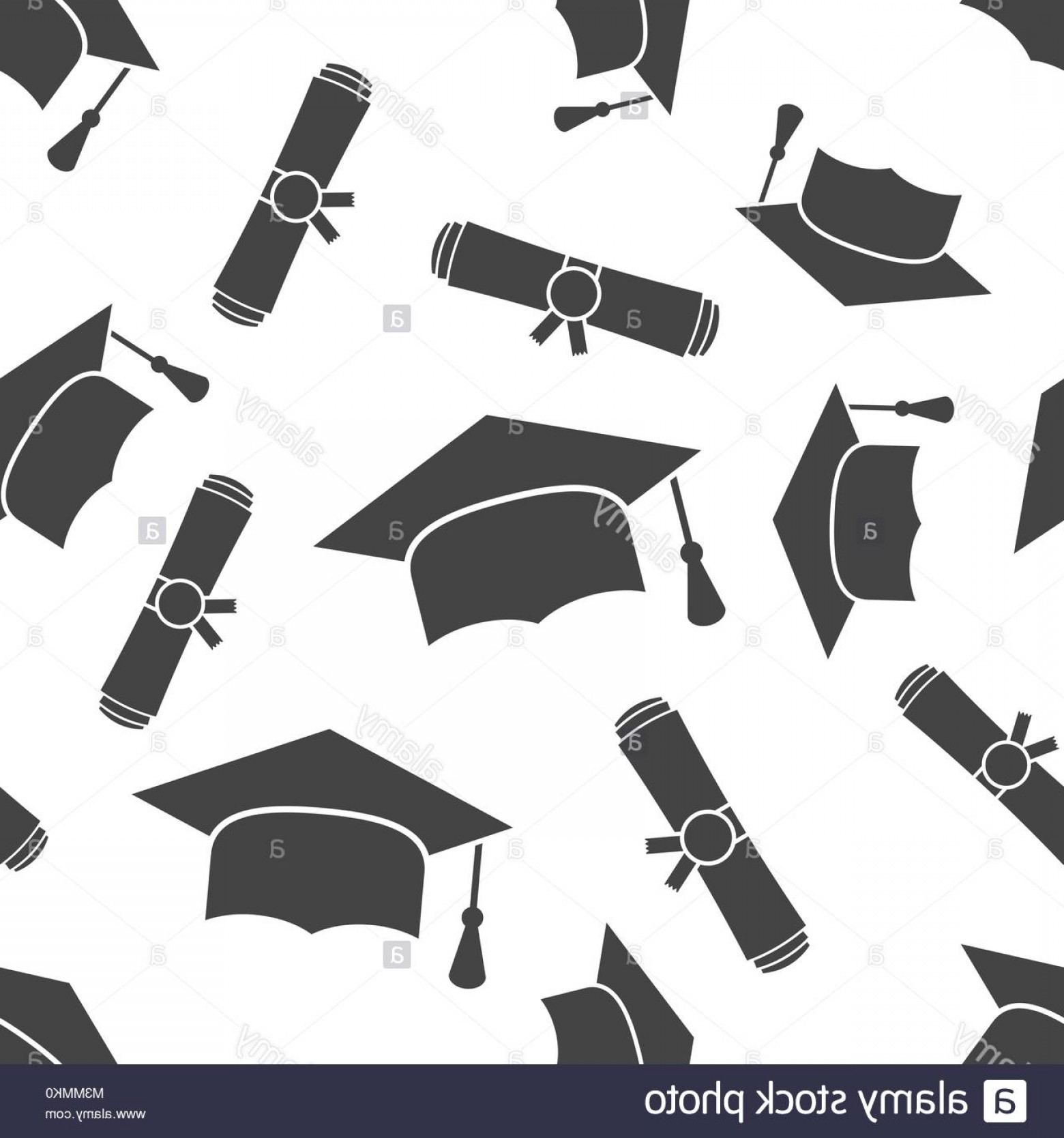 Diploma Icon Vector: Stock Photo Graduation Cap And Diploma Rolled Scroll Seamless Pattern Background