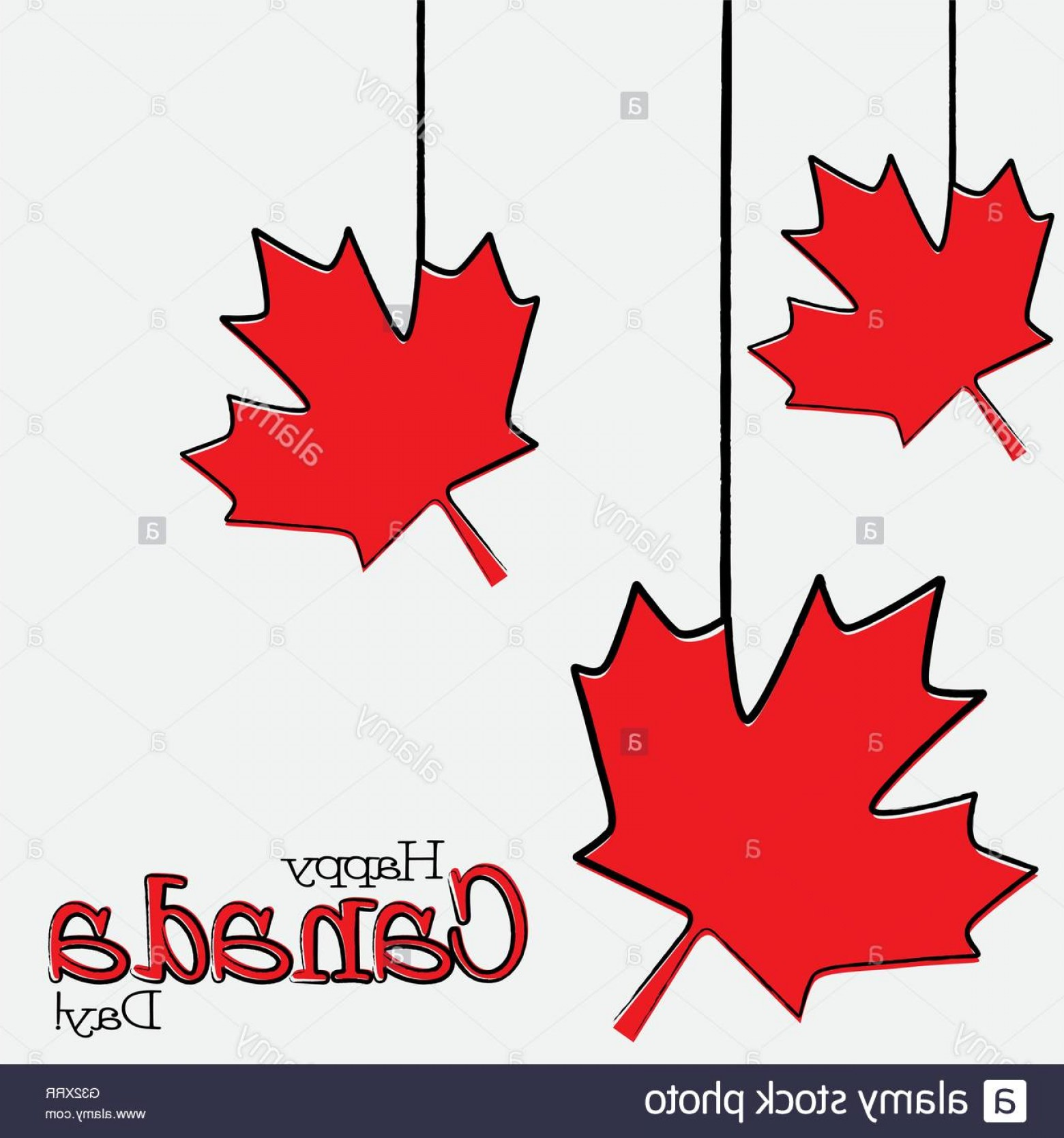 Red Maple Leaf Vector: Stock Photo Hand Drawn Maple Leaf Canada Day Card In Vector Format