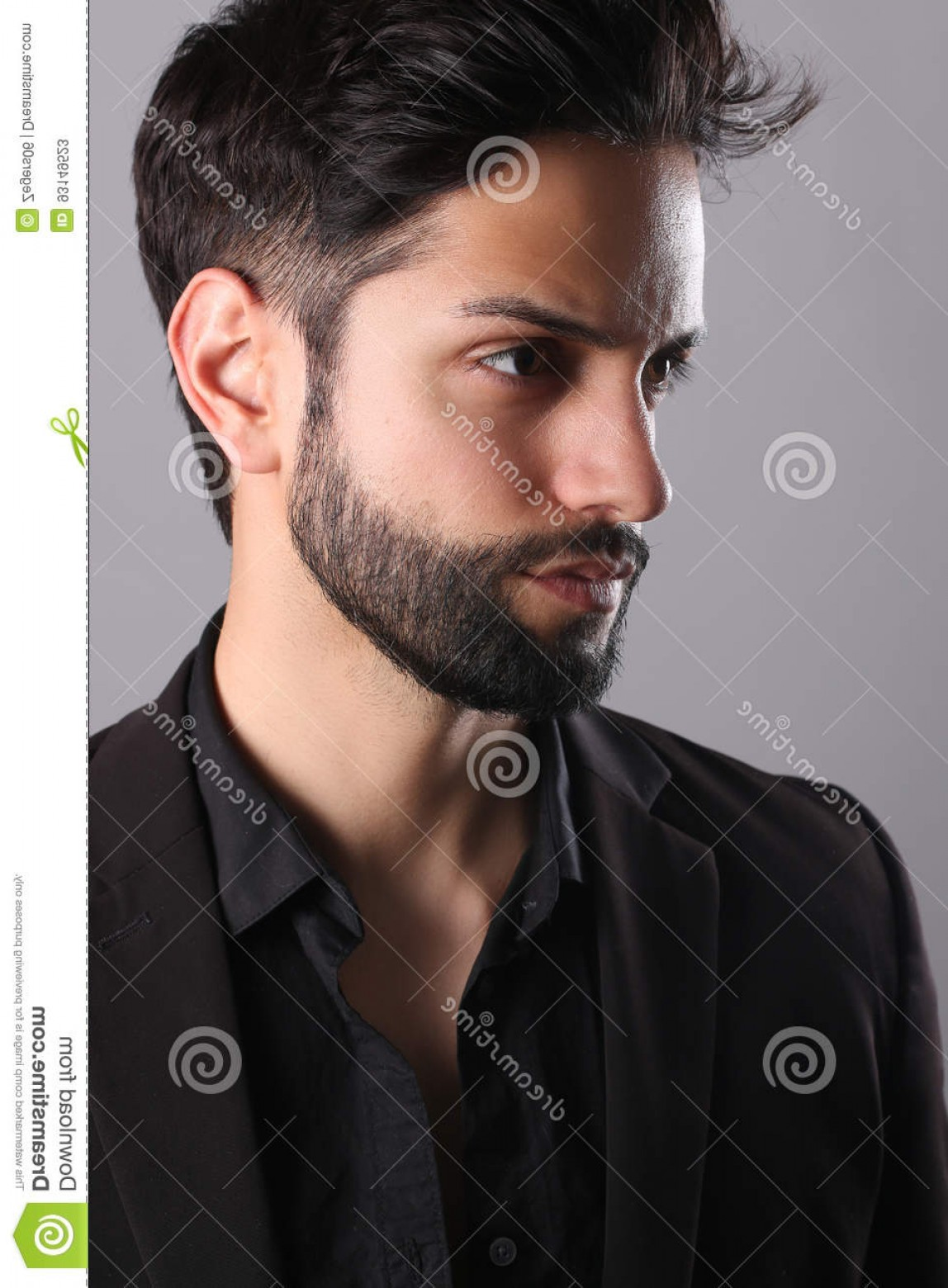 Vector Male Fade Hair: Stock Photo Handsome Man Low Fade Haircut White Background Image