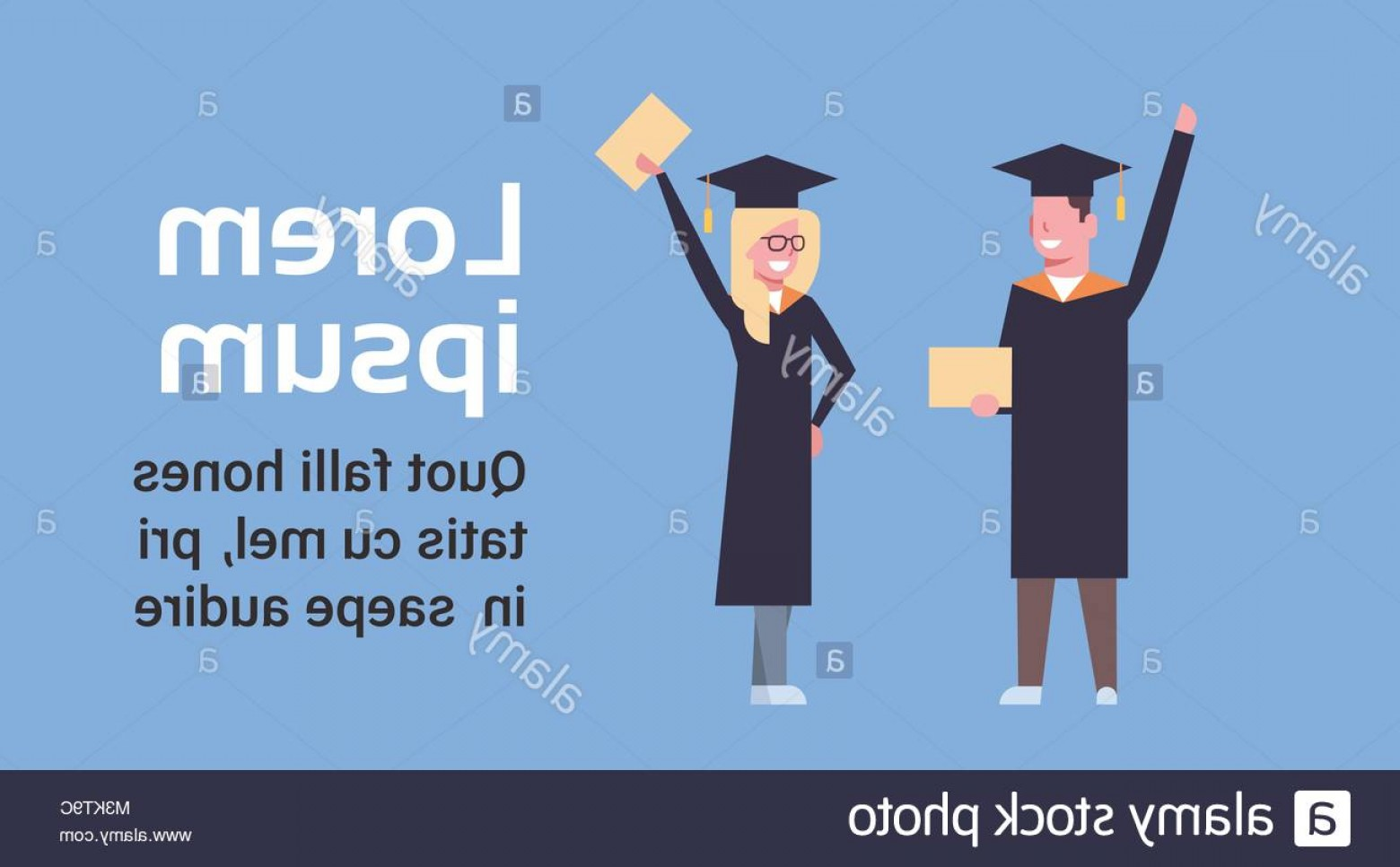 Standing Diploma Vector: Stock Photo Happy Girl And Boy Students In Graduation Cap And Gown Standing Hold