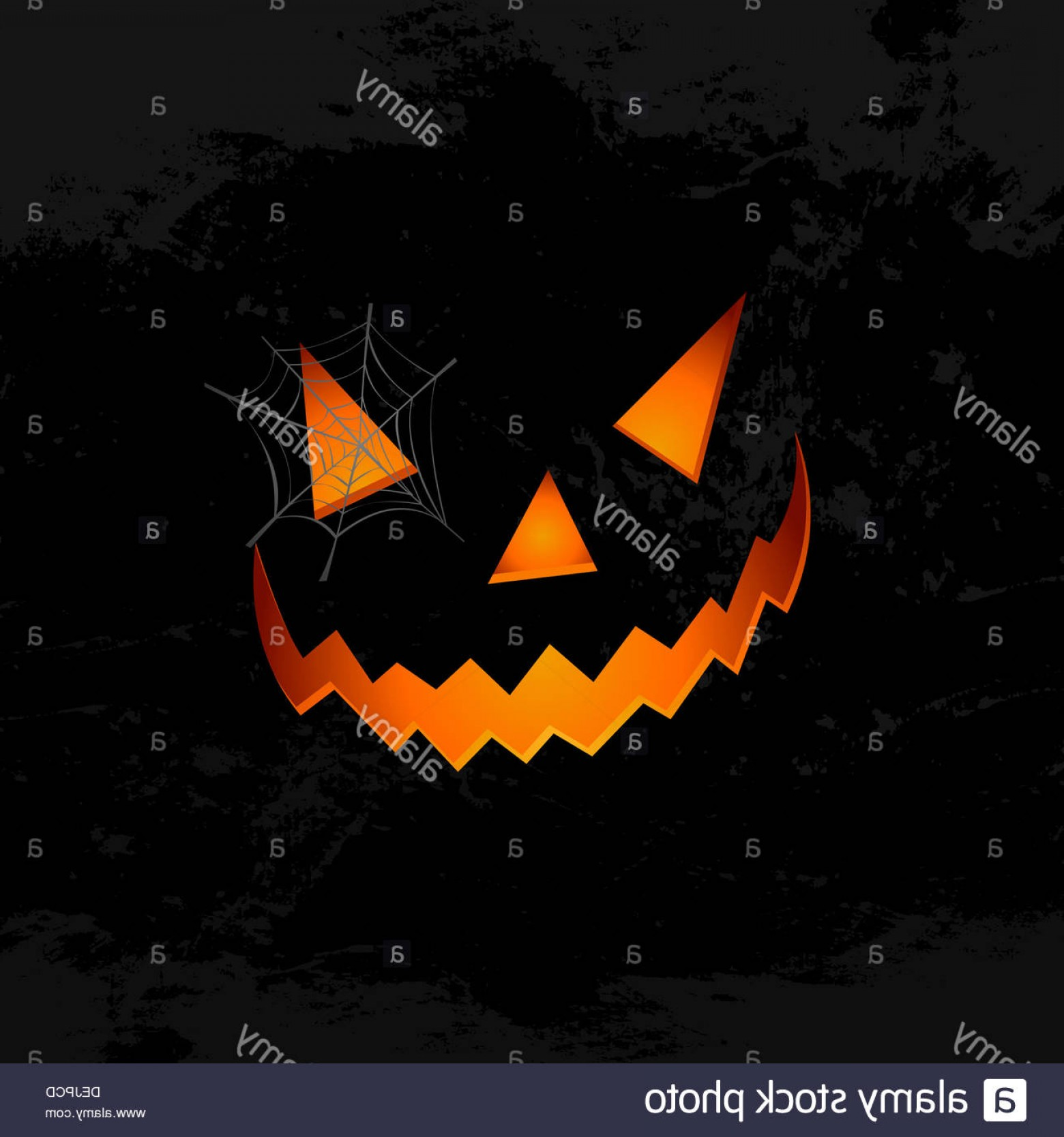 Easy Spider Vector Illustration: Stock Photo Happy Halloween Pumpkin Face Lantern With Spider Web Holiday Elements