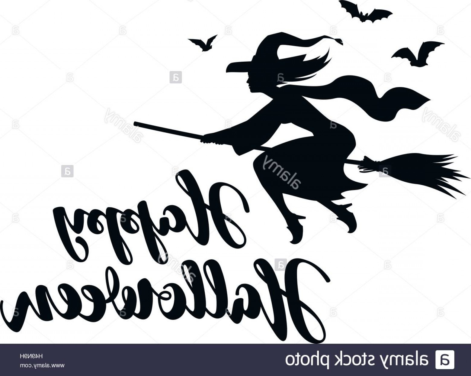 Witch Silhouette Vector: Stock Photo Happy Halloween Silhouette Young Witch Flying On Broomstick