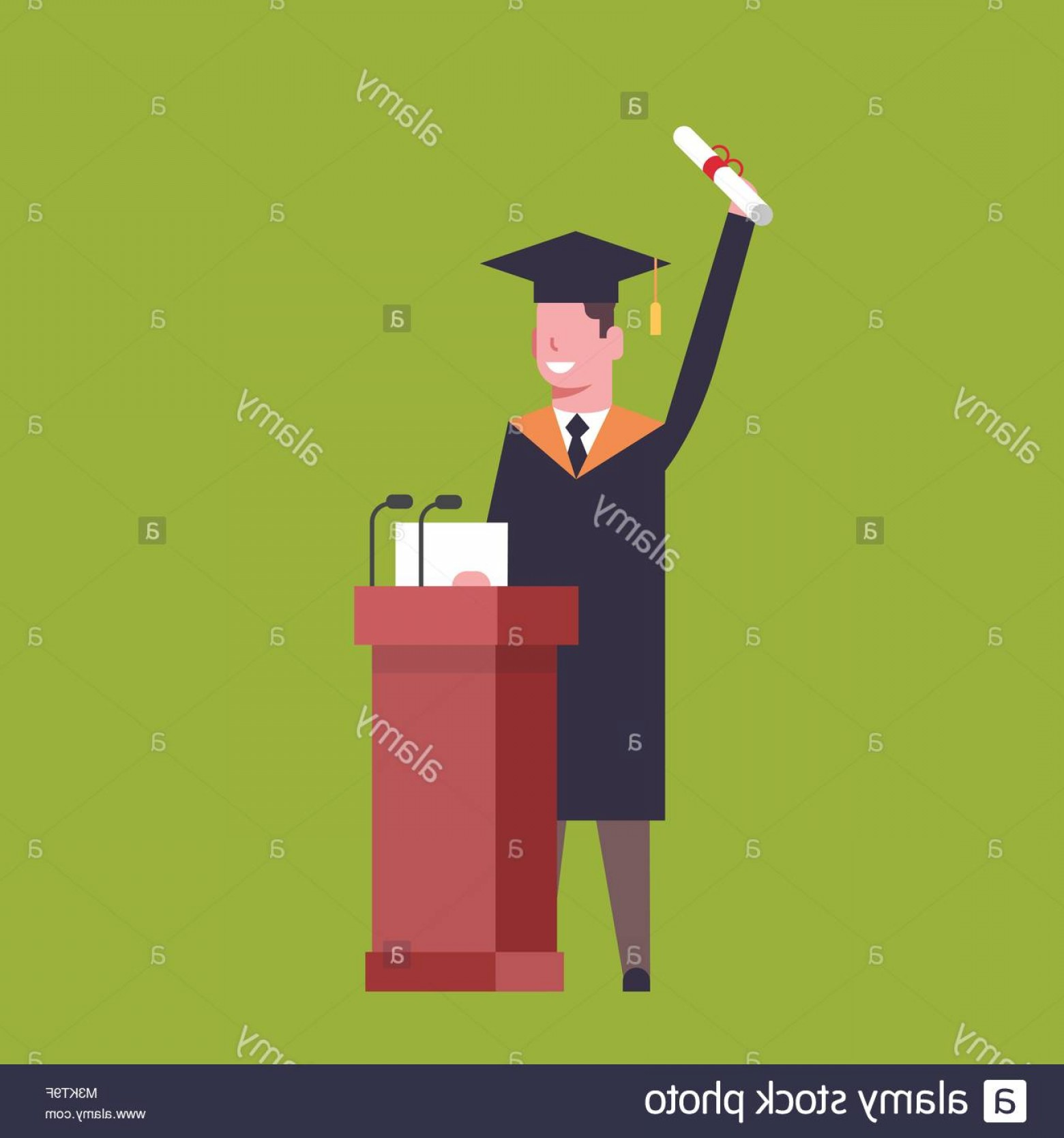 Standing Diploma Vector: Stock Photo Happy Student In Graduation Cap And Gown Standing At Tribune Hold
