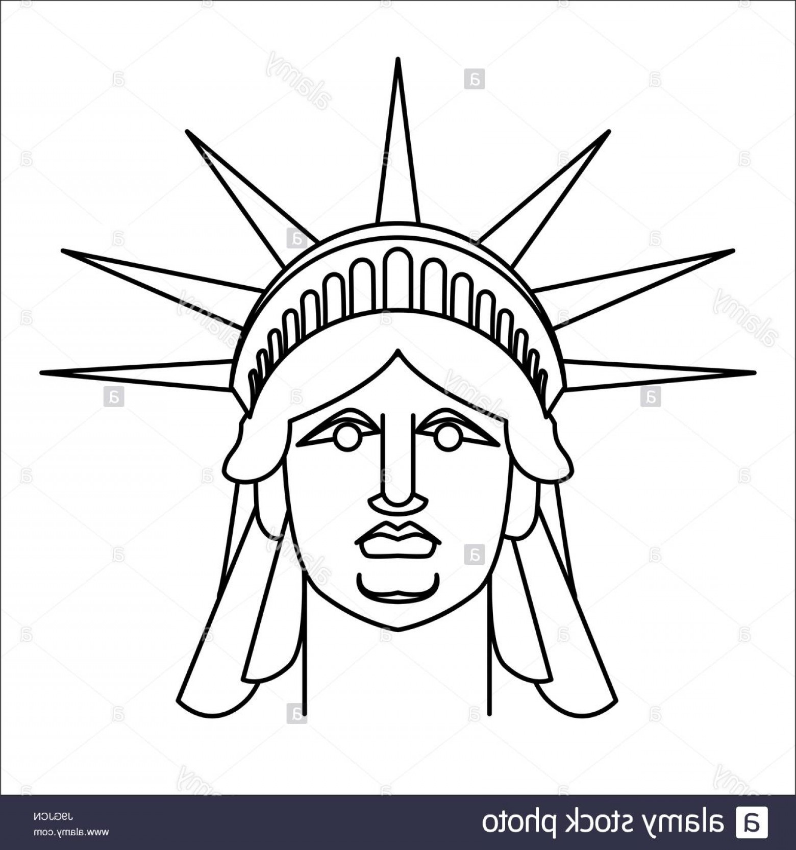 Statue Of Liberty Face Vector: Stock Photo Head Of Statue Of Liberty Linear Style Face Sculpture America Monument