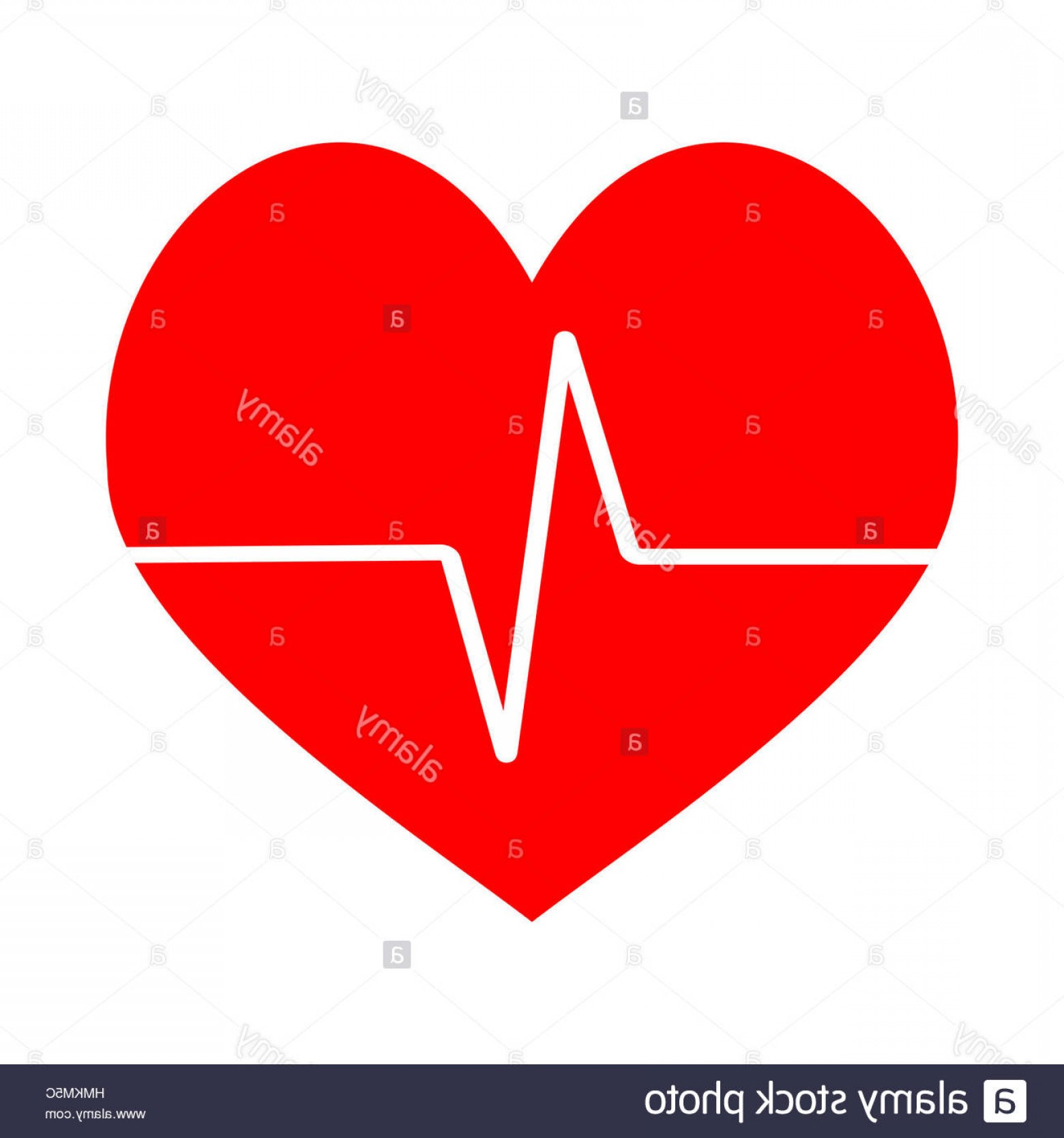 Heart Stethoscope With EKG Lines Vector: Stock Photo Heart Beat Icon Vector Pulse Ecg Cardiogram Red Heart Life Illustration