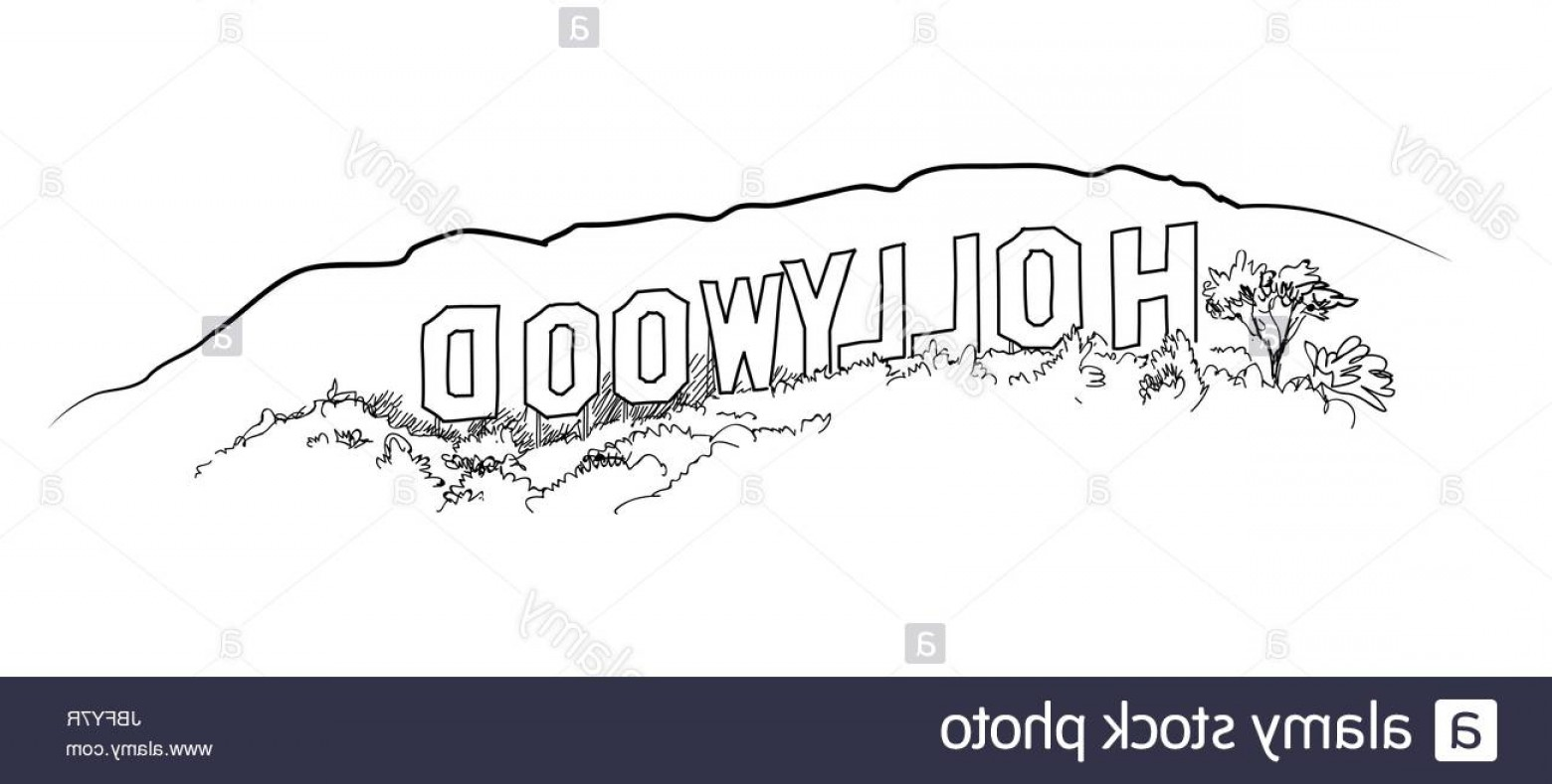 Hollywood Hills Vector: Stock Photo Hollywood Sign Engraving Hollywood Hill Landscape View