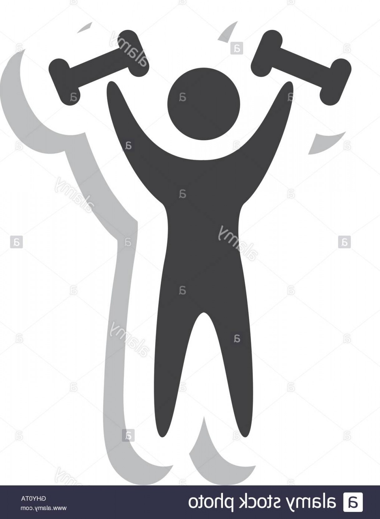 Vector Weight Lifting: Stock Photo Human Silhouette Strong Weight Lifting