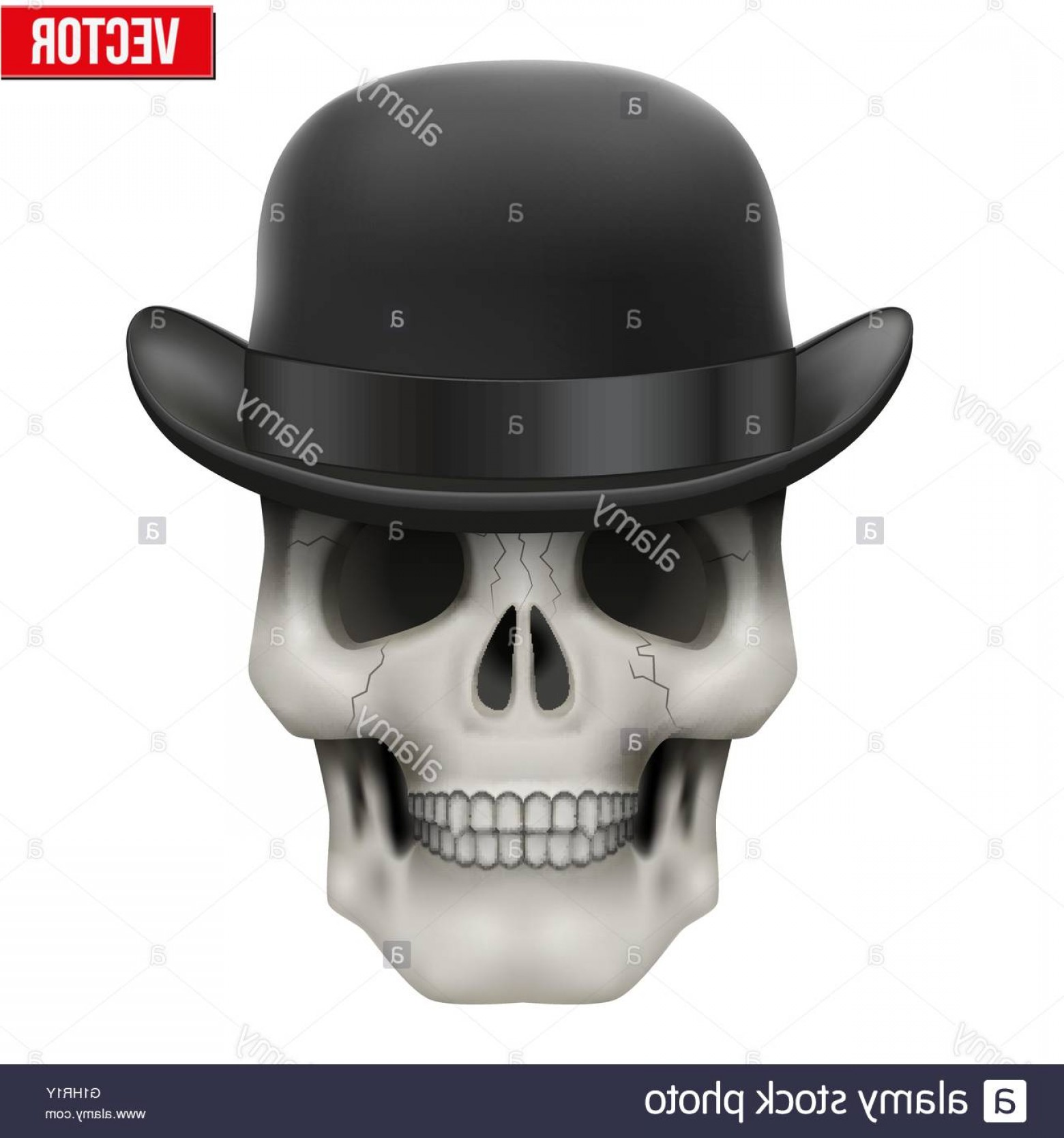 Bowler Hat Vector: Stock Photo Human Skull With Black Bowler Hat