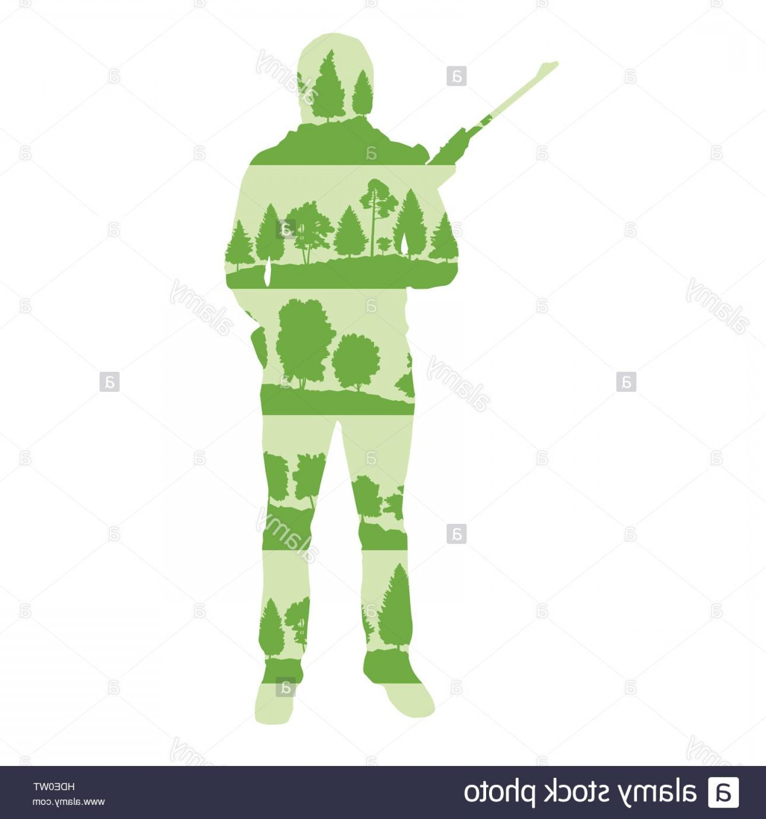 Boba Fett Silhouette Vector: Stock Photo Hunter Silhouette With Rifle Vector Background Concept Made Of Forest