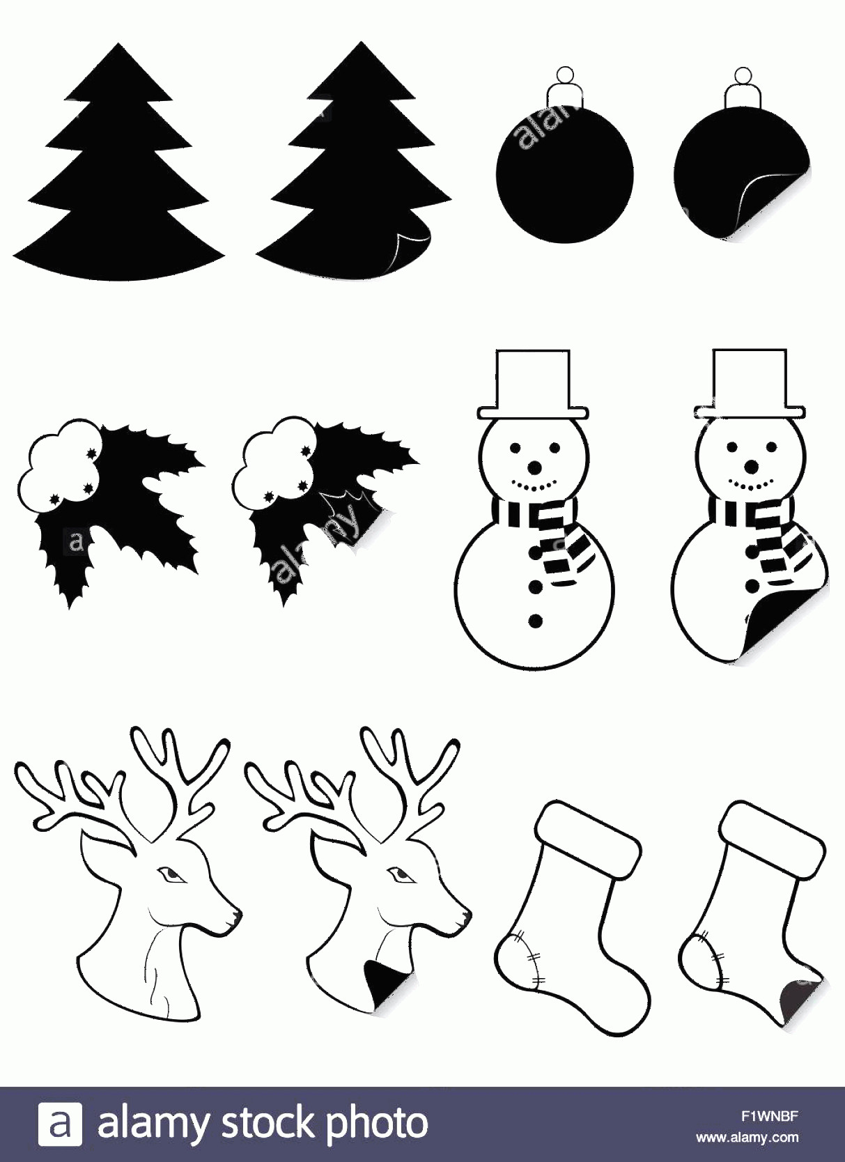 Vector Christmas Toppers: Stock Photo Icons Labels For Christmas And New Year Black Silhouette Vector Illustration