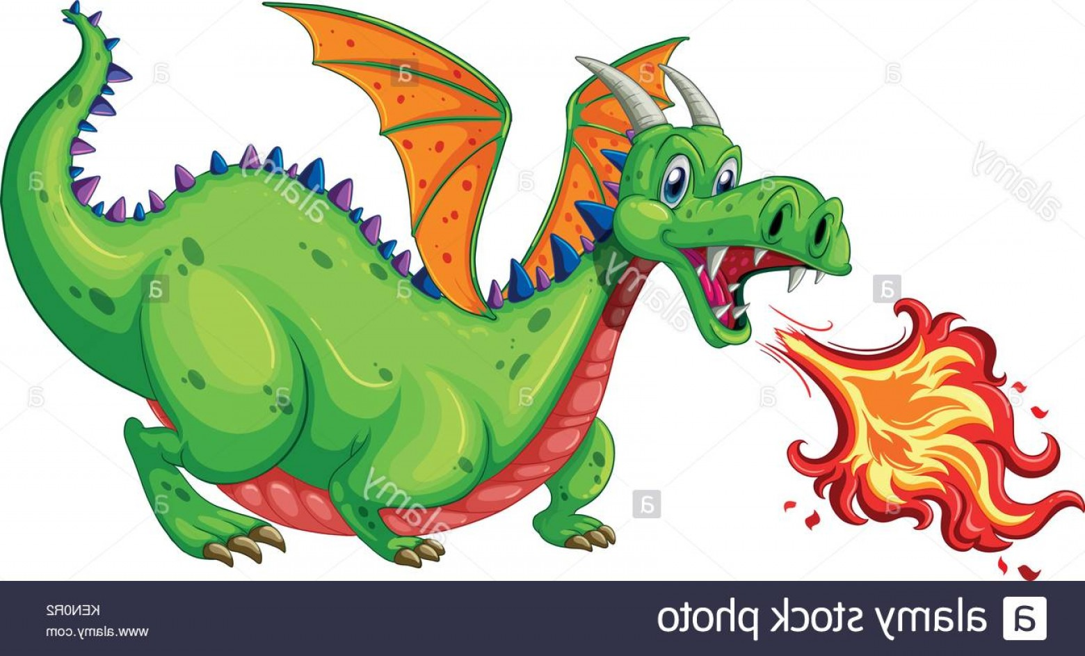 Dragon Fire Vector: Stock Photo Illustration Of A Dragon Blowing Fire