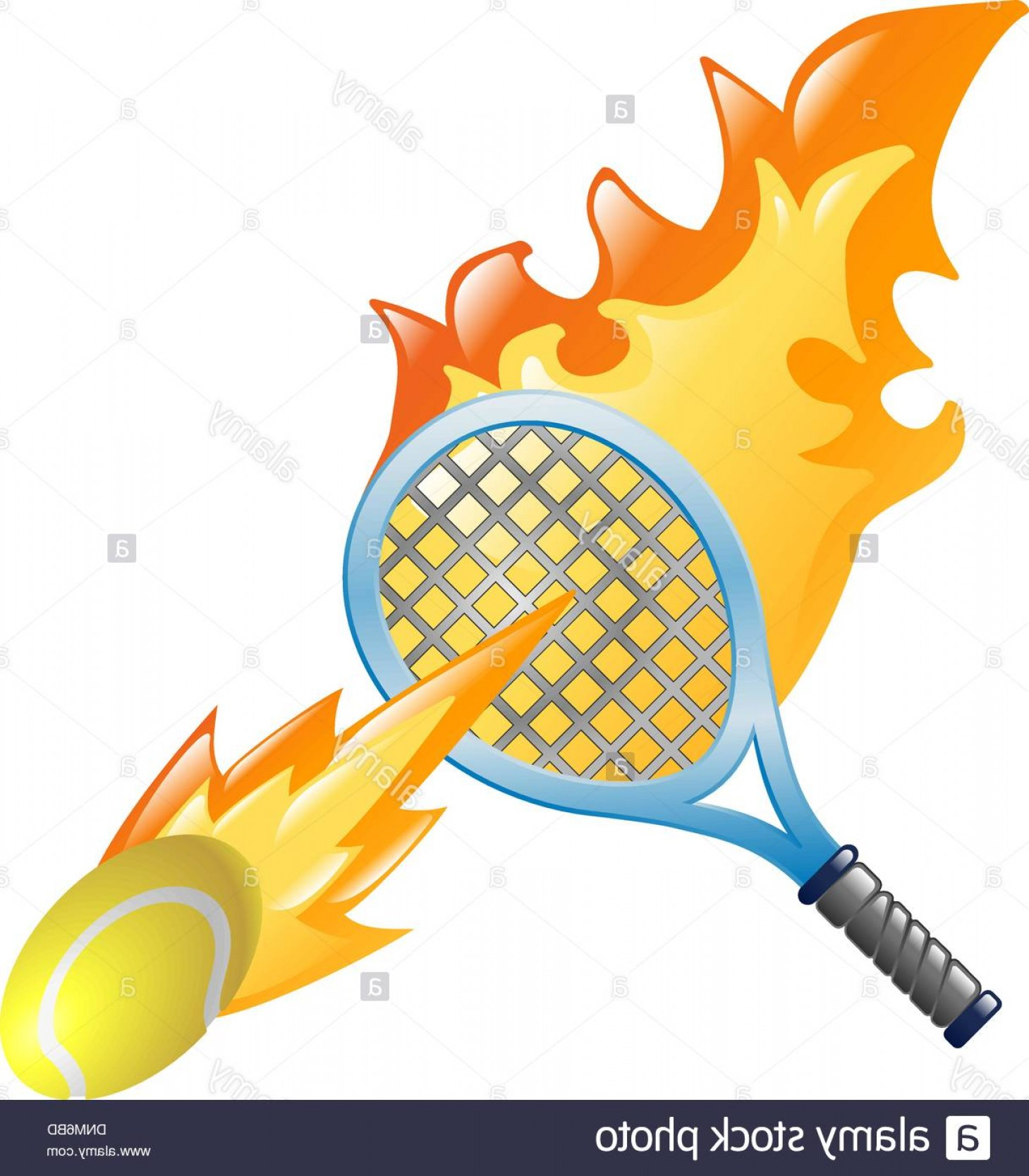 Flaming Tennis Ball Vector Art: Stock Photo Illustration Of A Flaming Tennis Racket And Tennis Ball