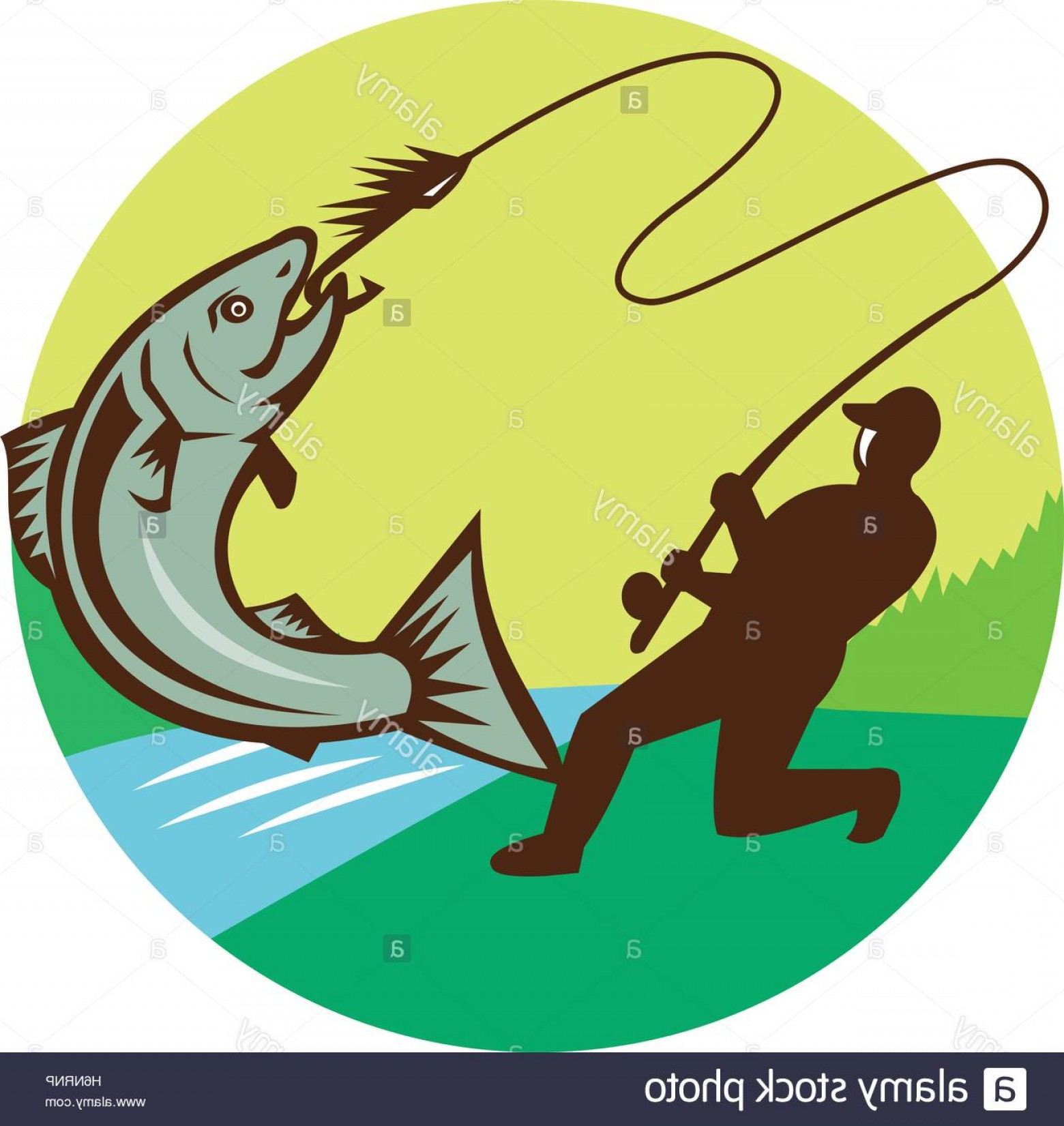 Detailed Vector Art Fly Fisherman: Stock Photo Illustration Of A Fly Fisherman Fishing Casting Rod And Reel Hooking