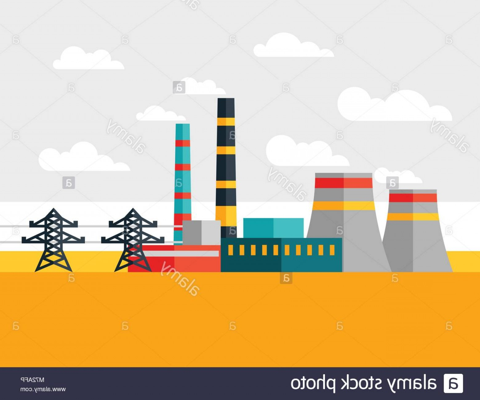 Vector Power Plant Utility: Stock Photo Illustration Of Industrial Power Plant In Flat Style