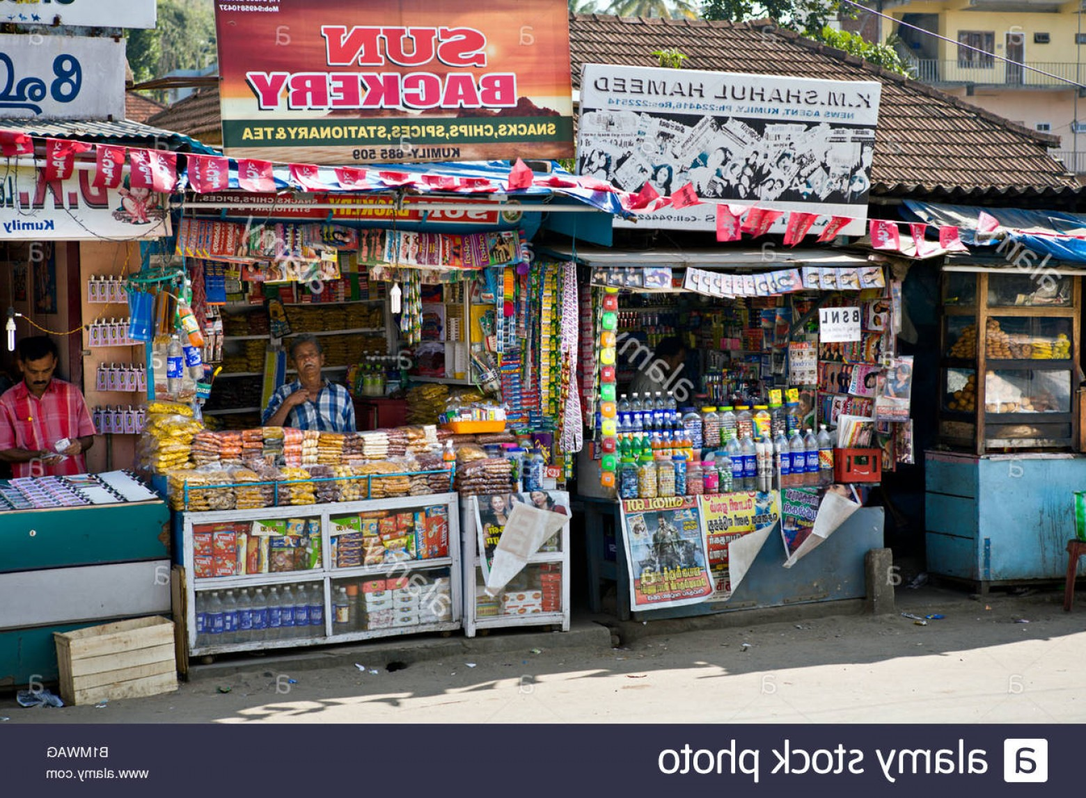 Vector Newspapers Snacks: Stock Photo India Kumily Kerala Tiny Colorful Shops Selling Snacks Chips Spices