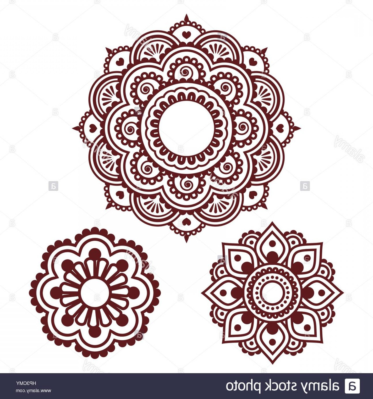 Vector Art Henna: Stock Photo Indian Henna Tattoo Round Design Mehndi Pattern
