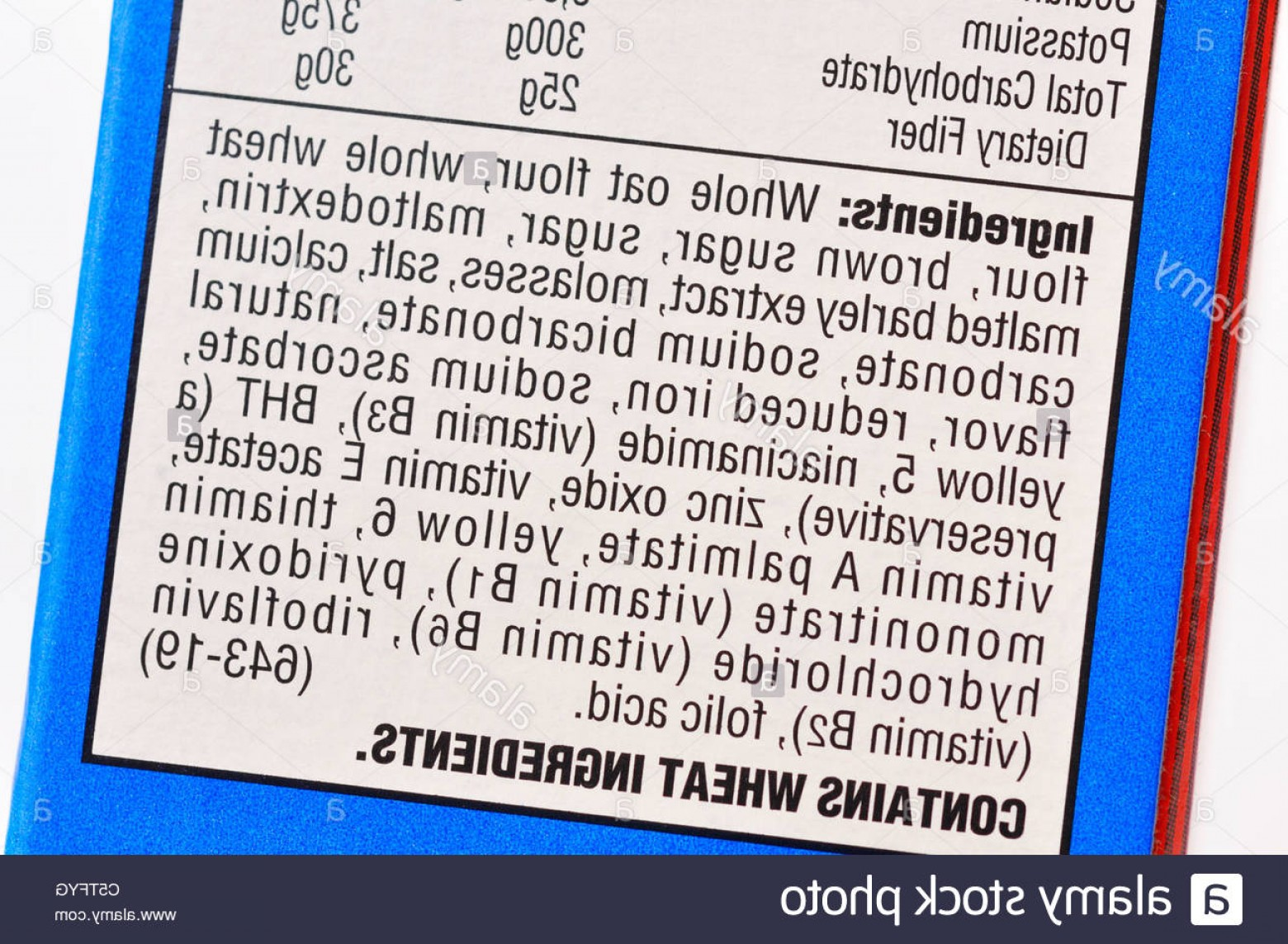 Nutrition Label Kellogg's Vector: Stock Photo Ingredients List On Cereal Box