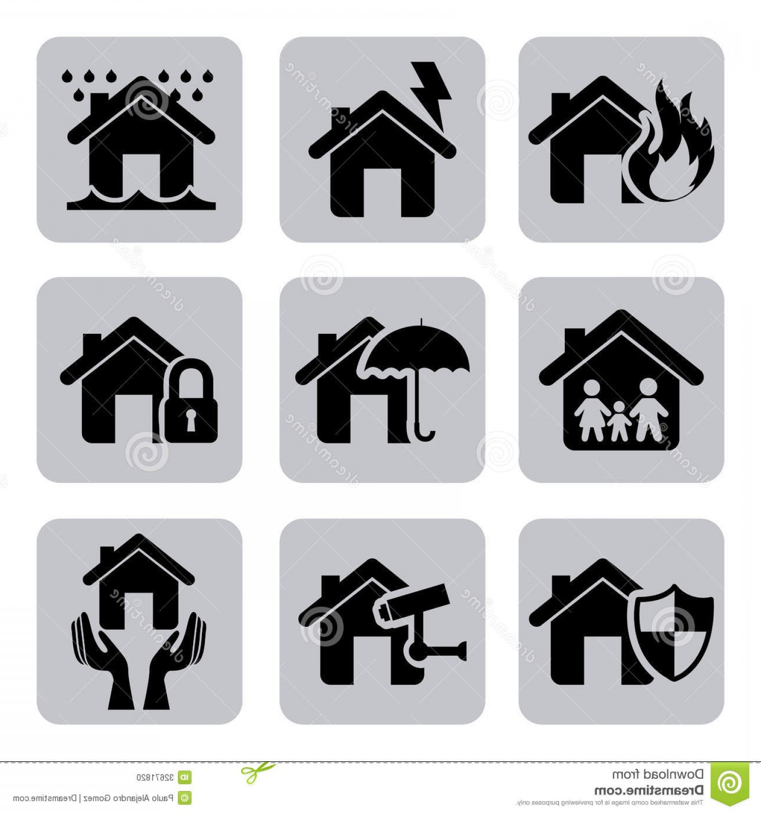 Vector Insurance: Stock Photo Insurance Icons Over White Background Vector Illustration Image