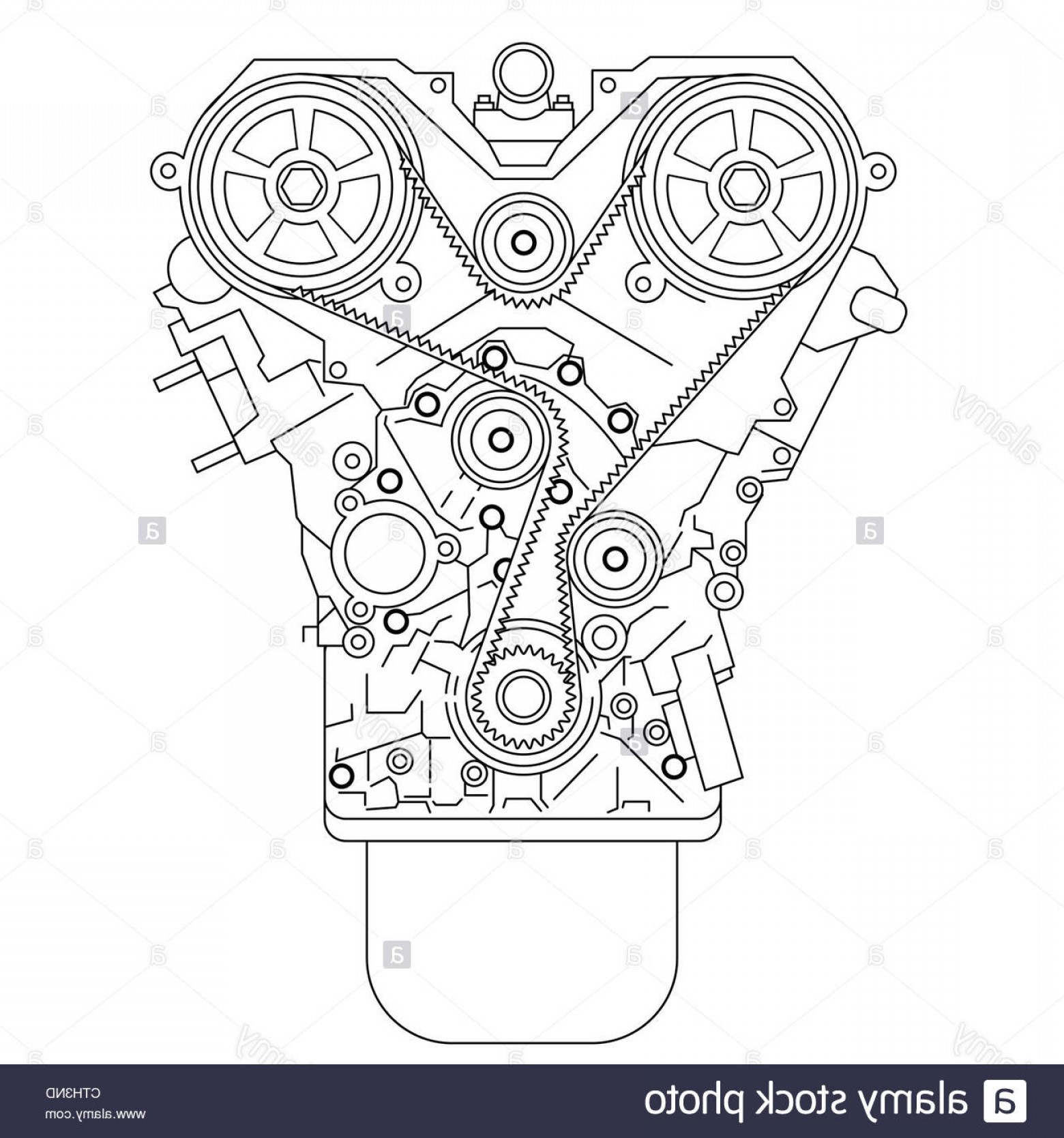 Combustible Engine Vector: Stock Photo Internal Combustion Engine As Seen From In Front Vector Illustration
