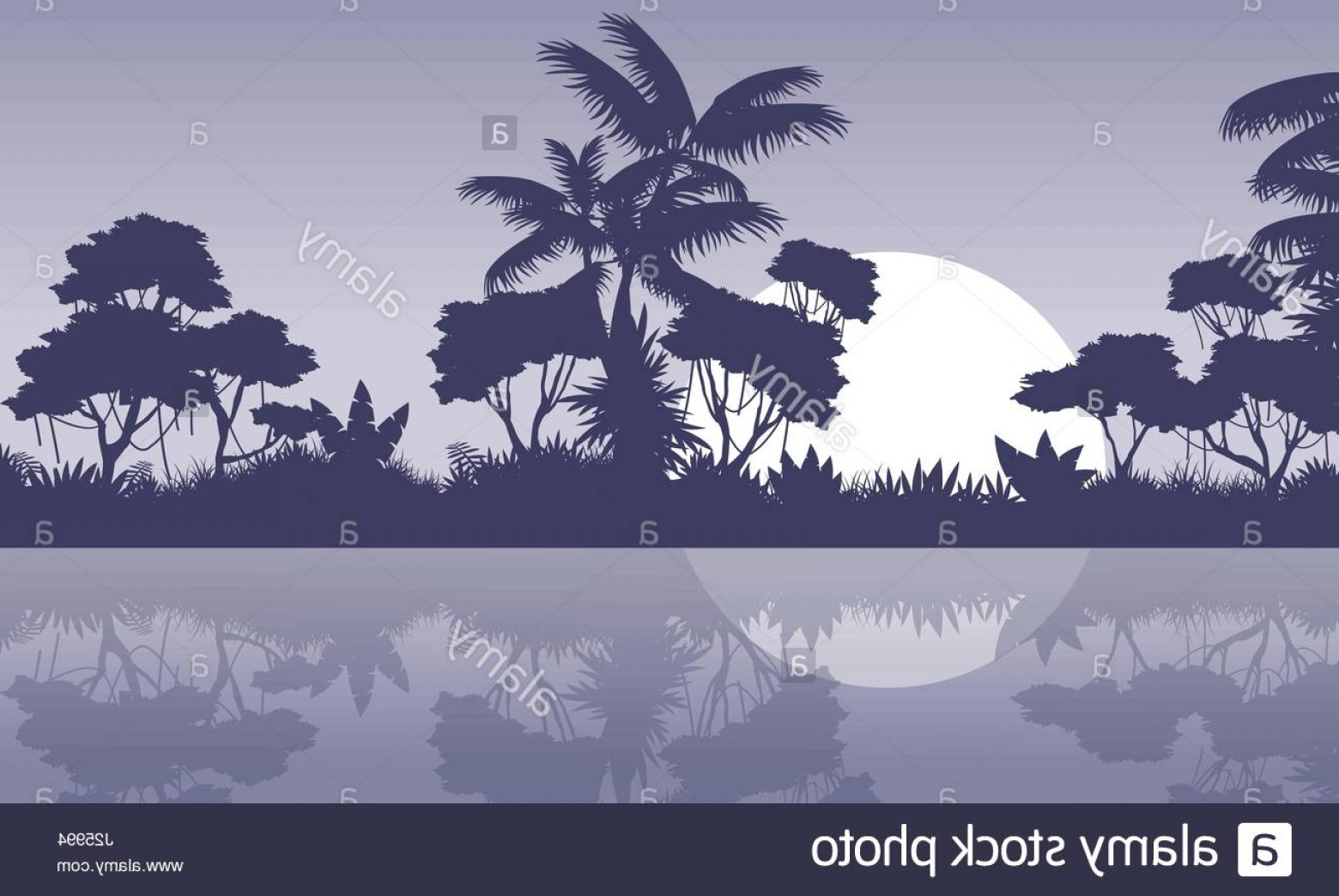 River Silhouette Vector Art: Stock Photo Jungle Scenery With River Silhouette Style