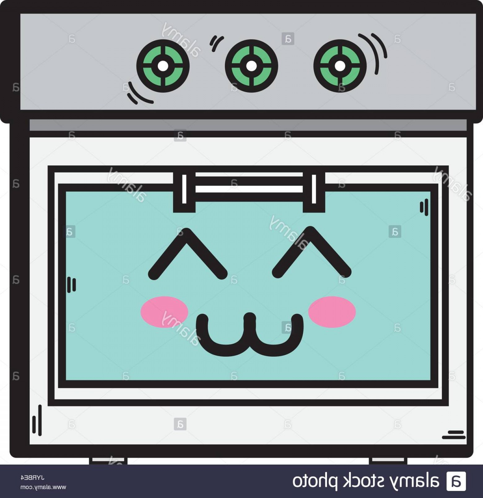Happy Oven Vector: Stock Photo Kawaii Cute Happy Oven Technology