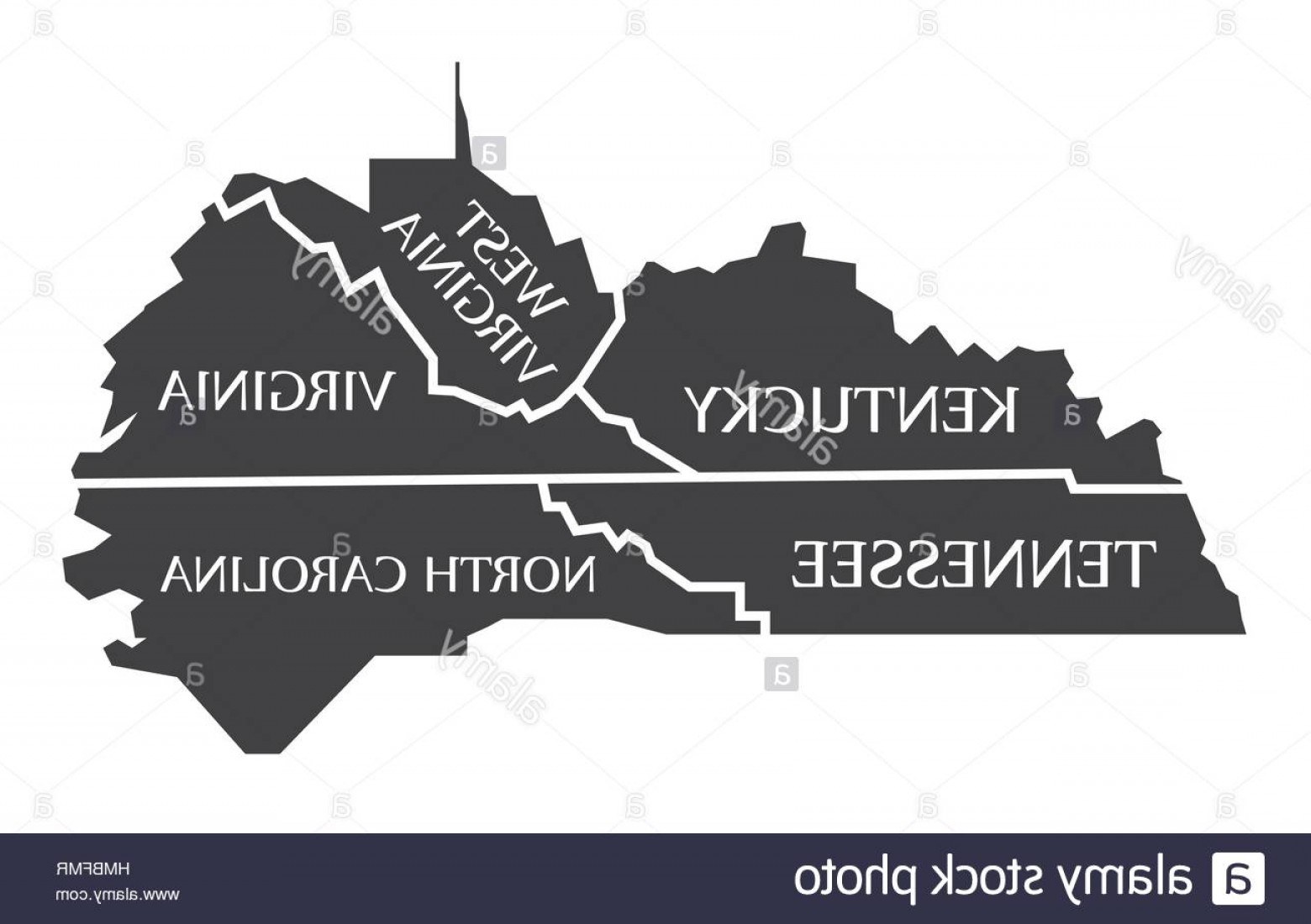 Virginia Vector: Stock Photo Kentucky Tennessee West Virginia Virginia North Carolina Map Labelled