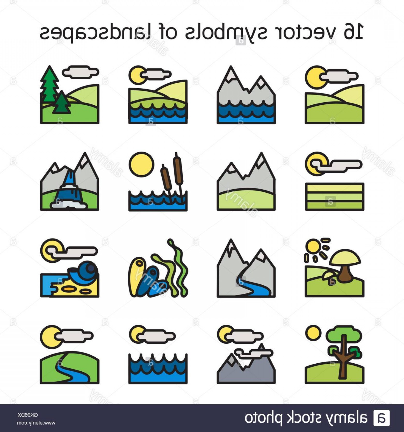 BBB Logo In Vector Form: Stock Photo Landscape Icons Collection Nature Symbols And Paysages In Rectangle