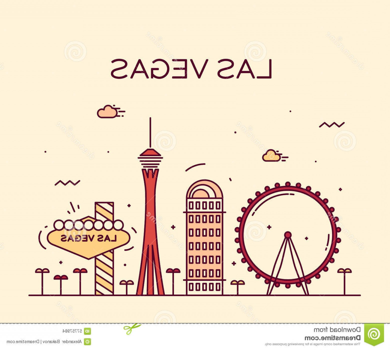 Married In Vegas Vector Art: Stock Photo Las Vegas Skyline Vector Illustration Linear Big City Architecture Vintage Image