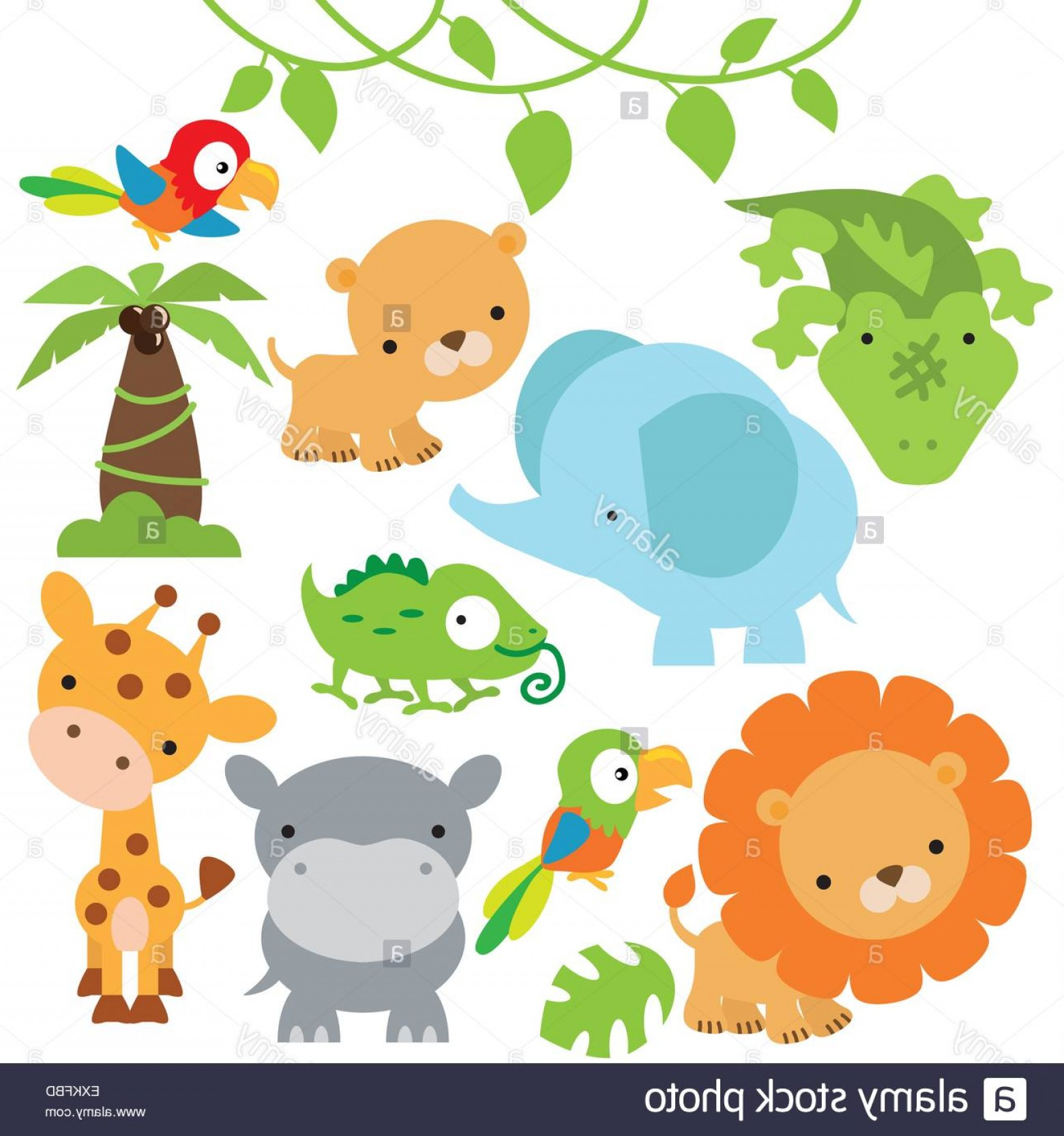 Jungle Animals Clip Art Vector: Stock Photo Lion Lioness Elephant Parrot Palm Tree Cute Animal Jungle Animal Funny