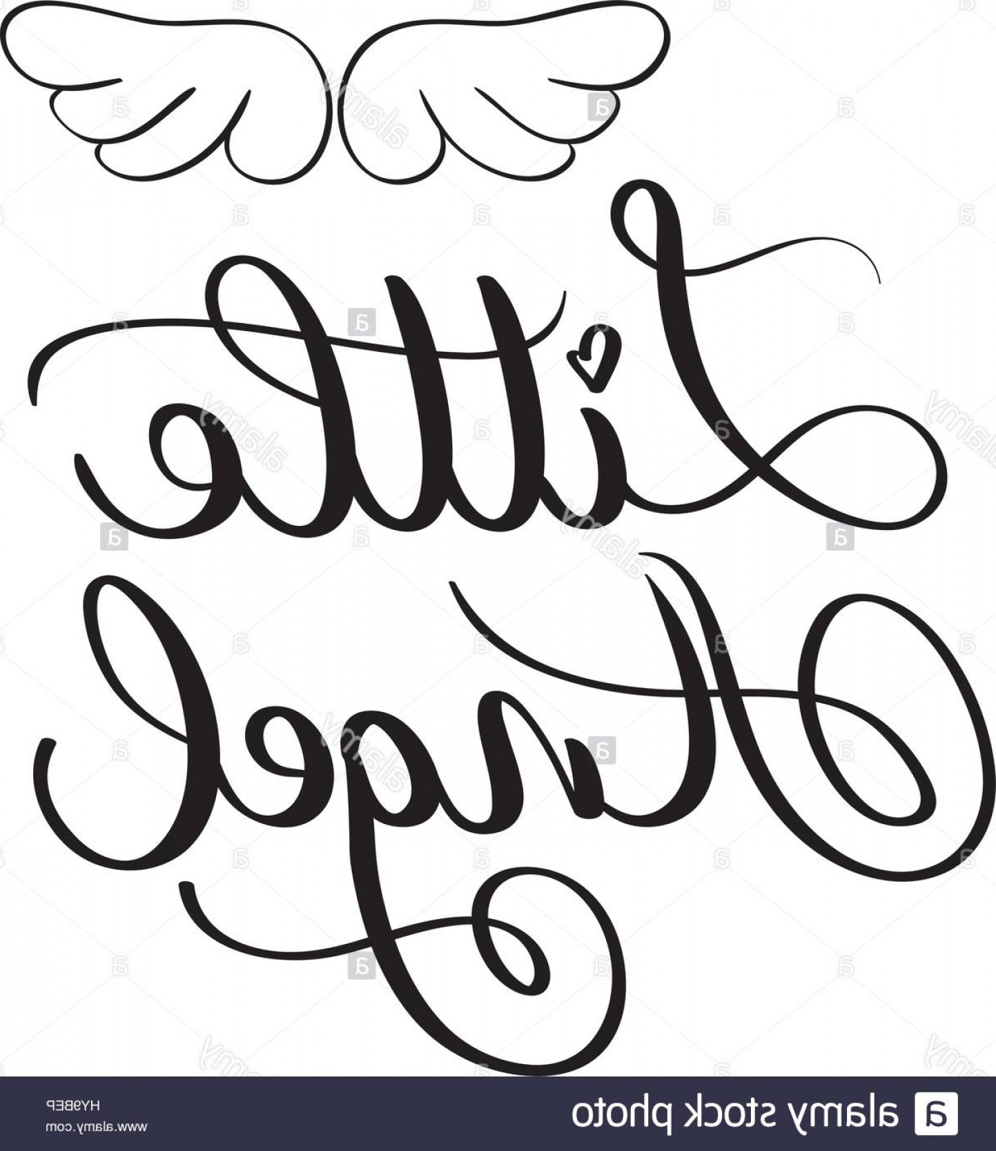 Little Angel Vector: Stock Photo Little Angel Words On White Background Hand Drawn Calligraphy Lettering
