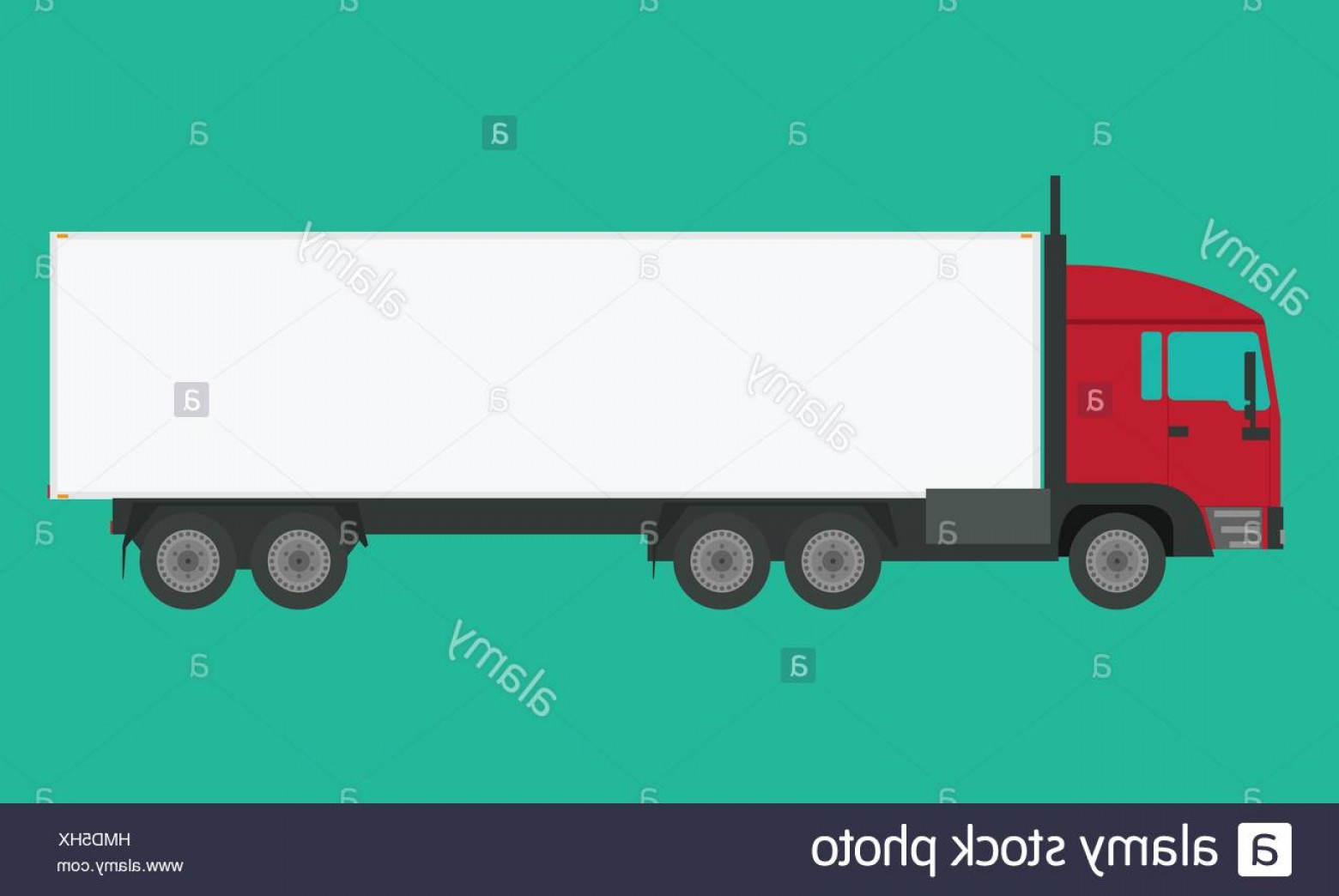 Vector Truck And Trailer Hauling: Stock Photo Long Vehicle Trailer Truck With Flat And Solid Color Design Illustrated